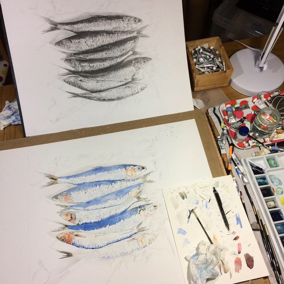 Sardine painting in progress