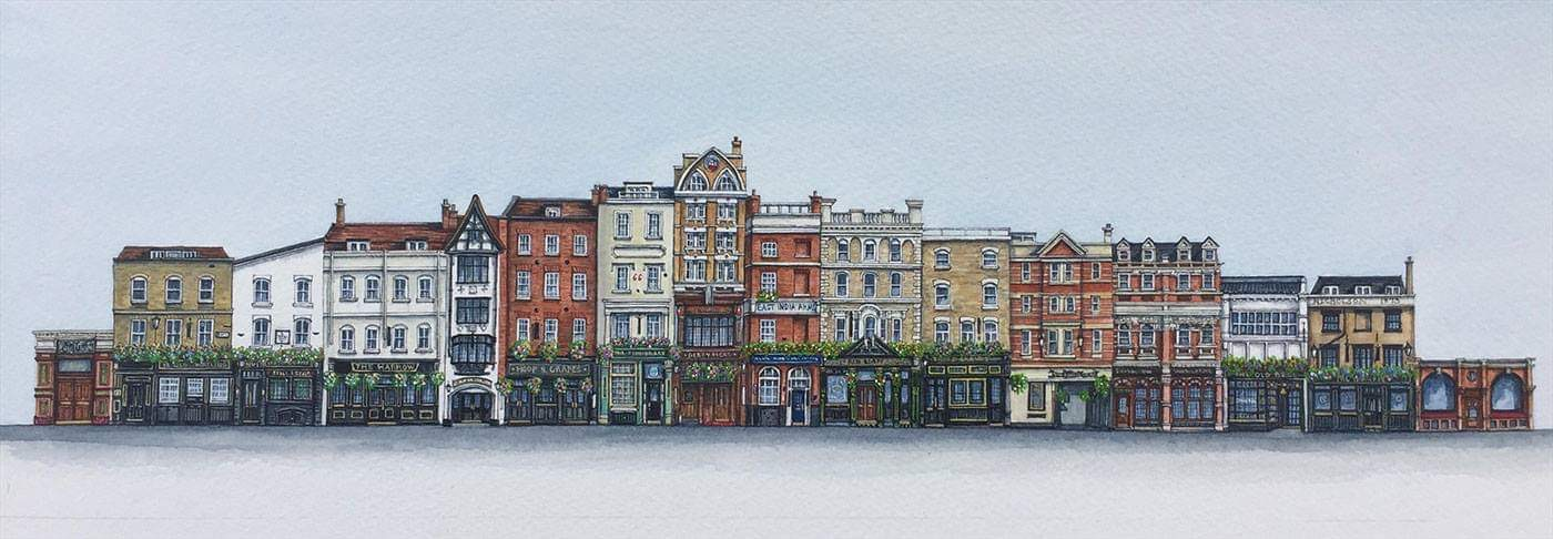 London Pubs - Watercolour Painting by Elaine Gill