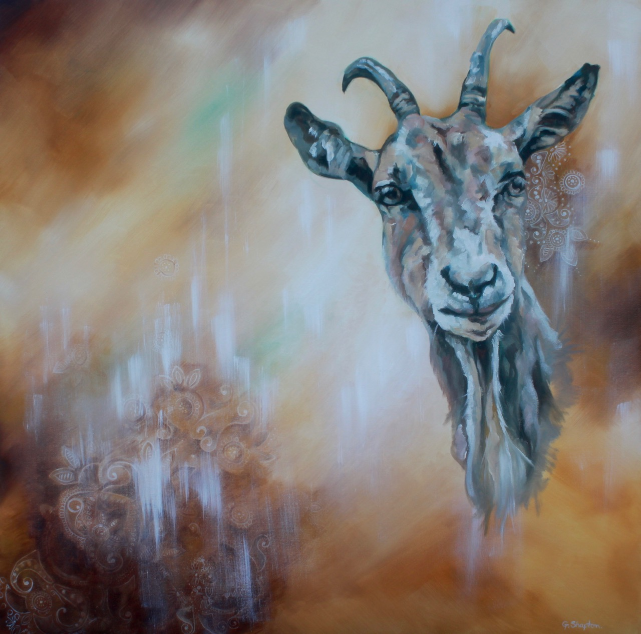 Lucy's Goat - Oil Painting by Gayle Shapton