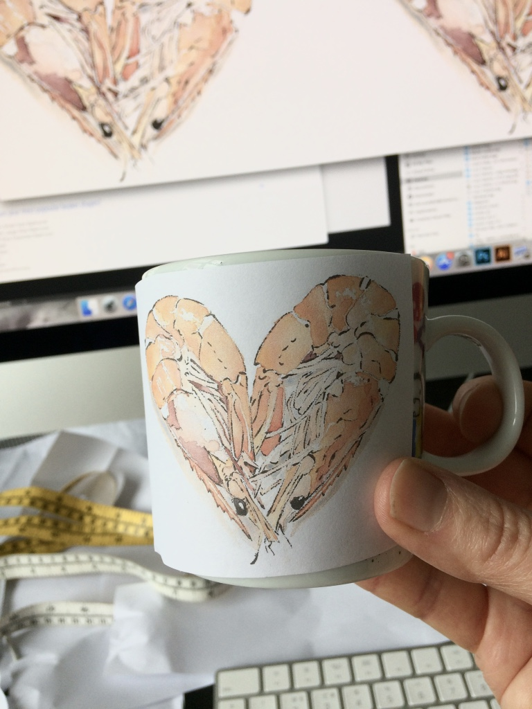 Testing out Prawn Heart on a mug using paper