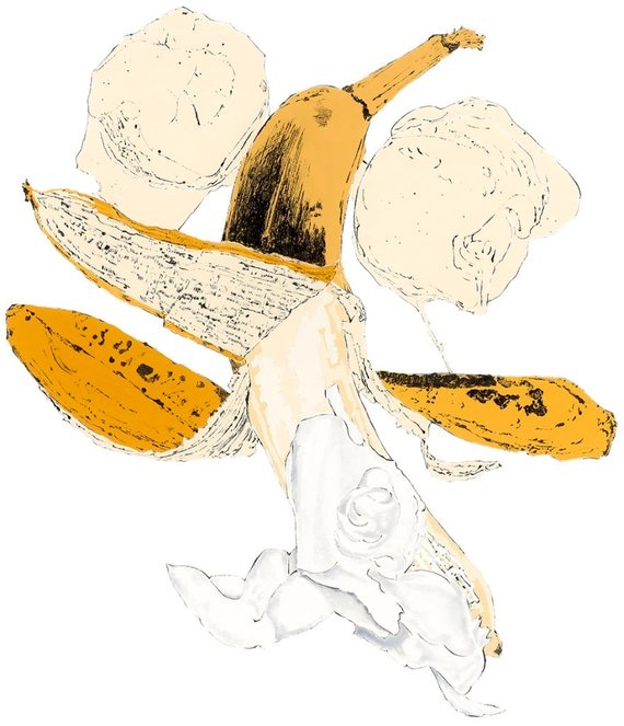 Banana - gouache and blotted line by Lucy Clayton. The poem to accompany this painting can be read  here .
