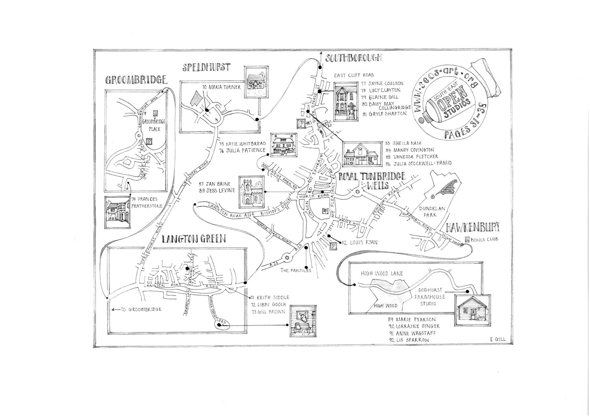 South East Open Studio Tunbridge Wells Trail Map designed by Elaine Gill