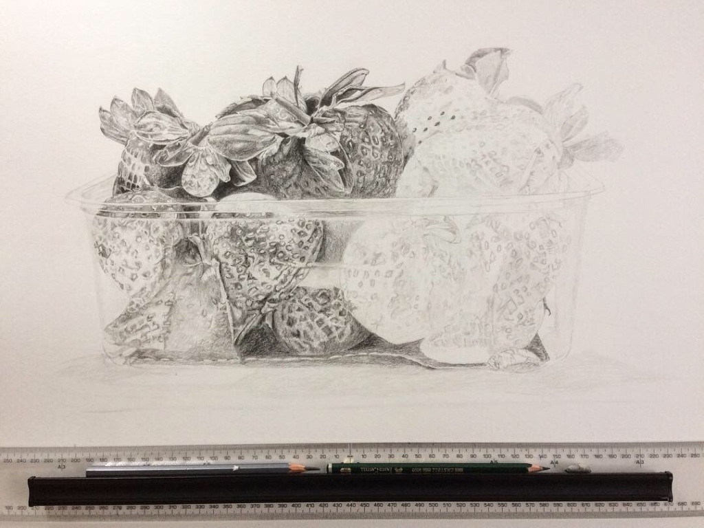 Pencil drawing of Punnet of Strawberries in progress