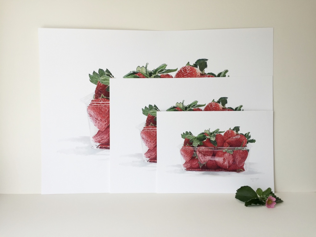 Punnet of Strawberries Giclee Print in sizes A4, A3 & A2