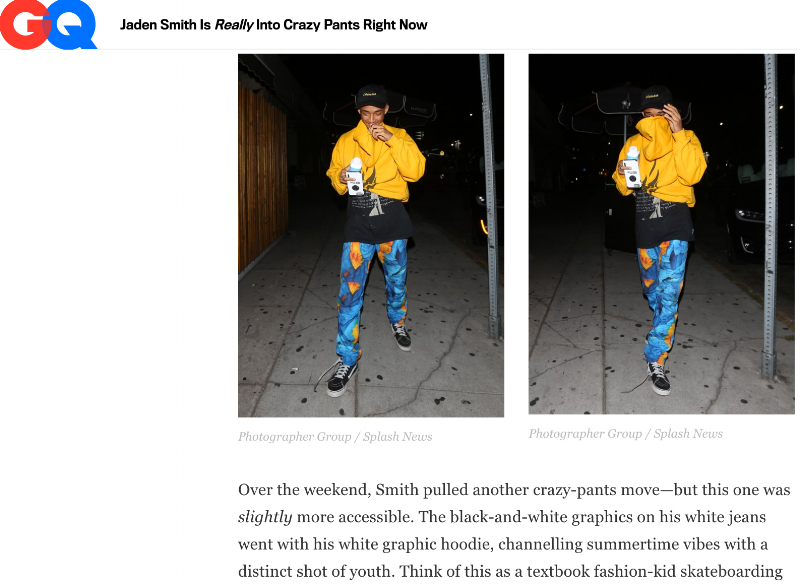 "GQ - ""Jaden Smith Is  Really  Into Crazy Pants Right Now"""
