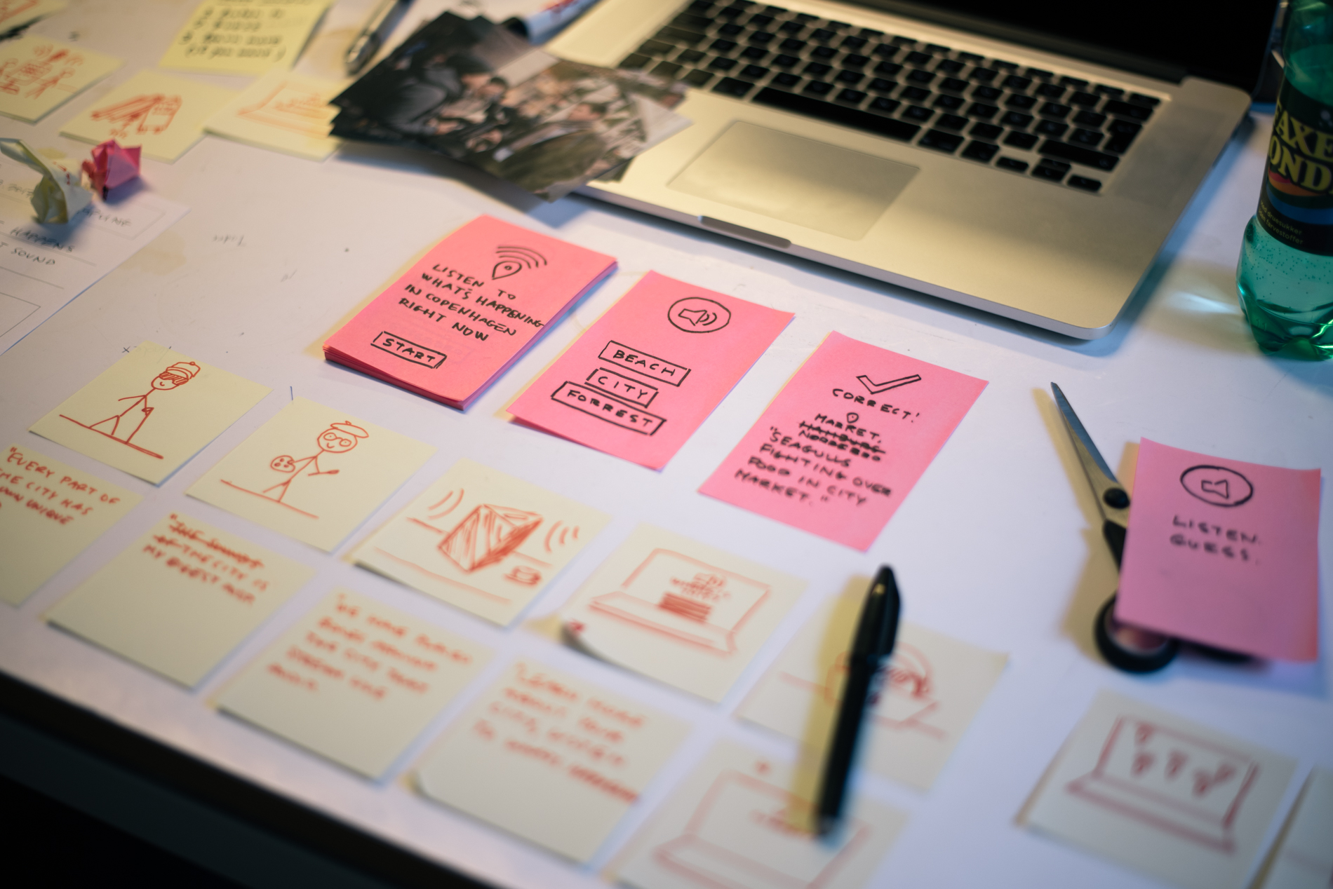 First prototype: App flow sketched on post-its