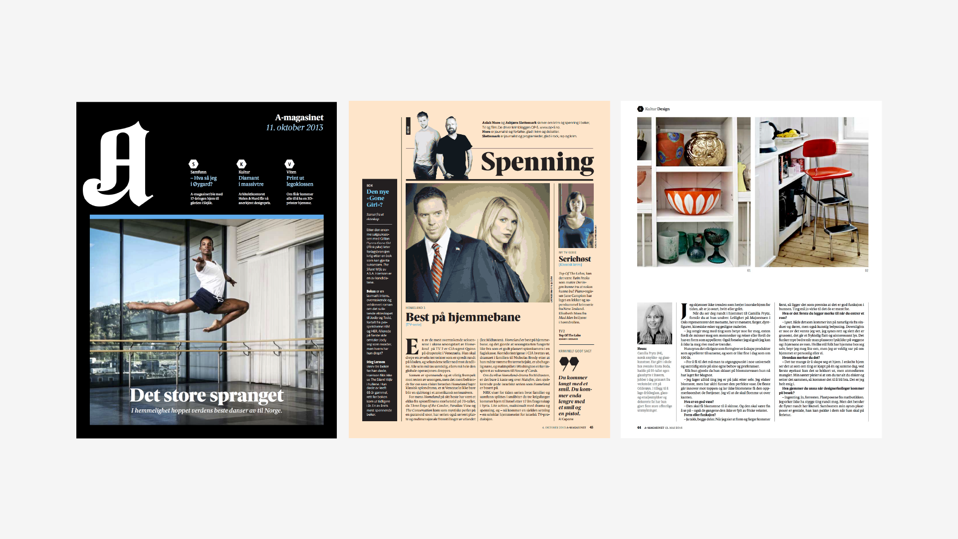 Typical pages from the print magazine.