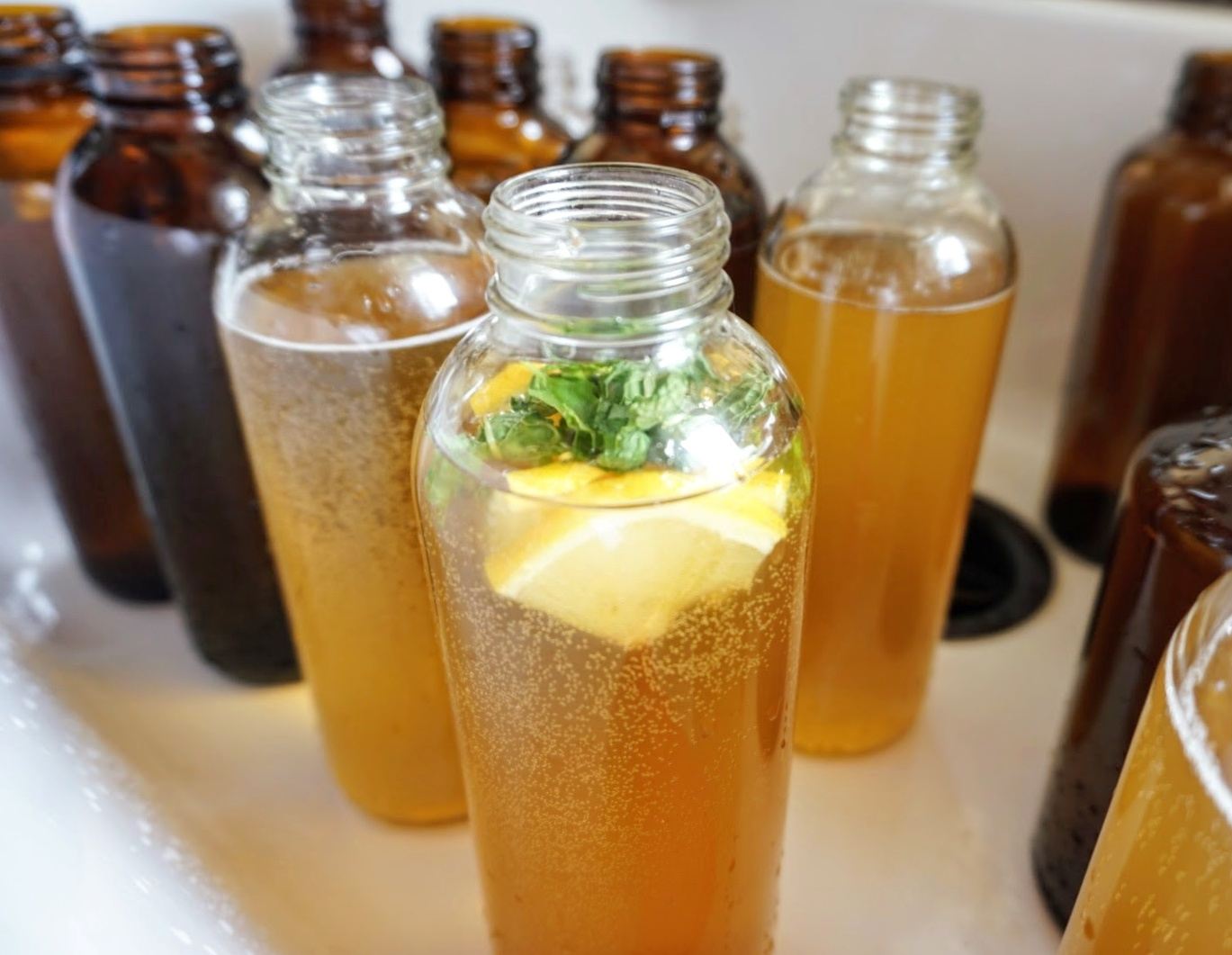 Tiny Home Kombucha Brewing Scoby bottling homemade organic flavors fruit