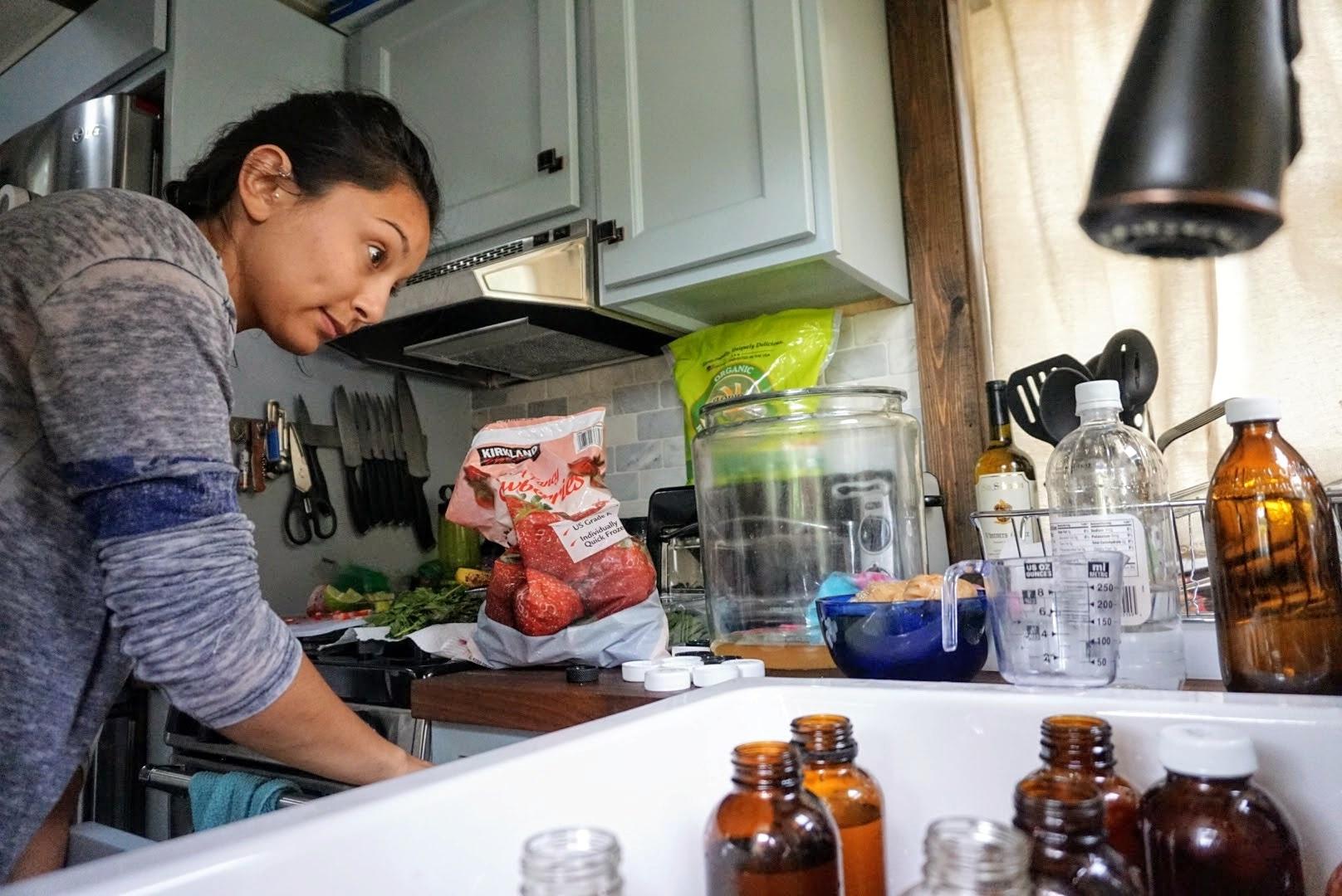 Tiny Home living Kombucha Brewing Scoby bottling homemade organic flavors fruit original small batch