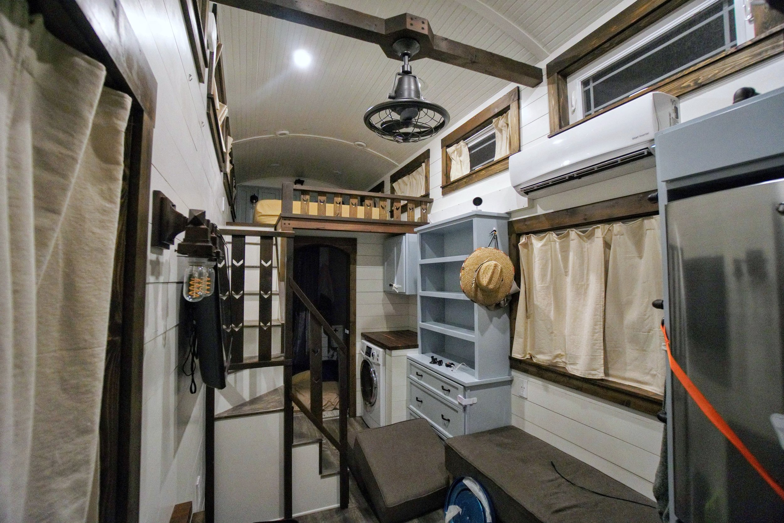 Moving a tiny home straps fridge child-lock cabinet bathroom sliding doors packing transportation tiny home