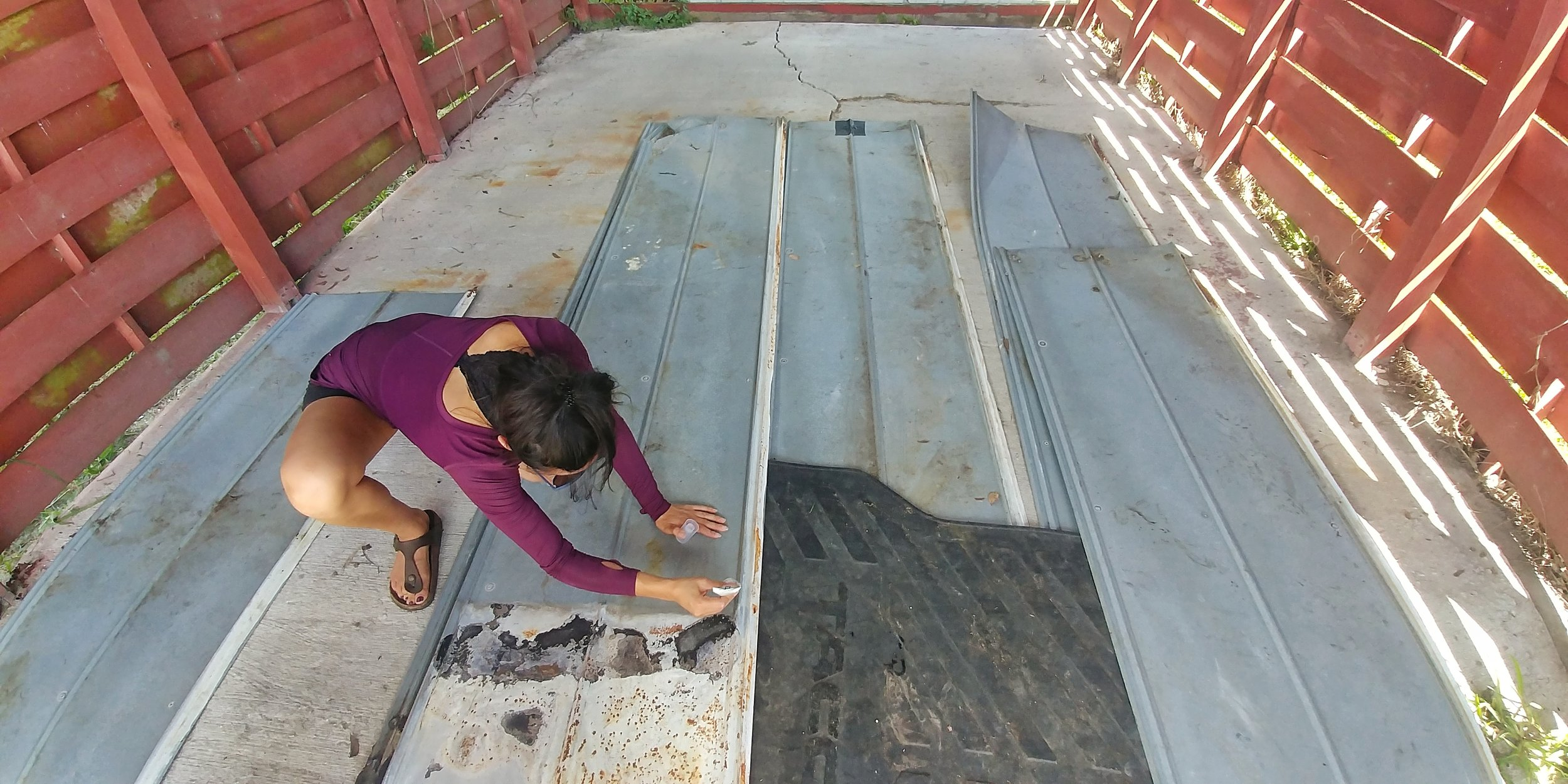 Some sheet metal we are recycling to use on top of the carport.