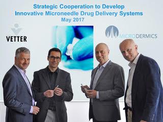 L-R:Dr. Claus Feussner (Vetter), Dr. Boris Stoeber (Microdermics), Grant Campany (Microdermics), Dr. David Brett (Vetter)