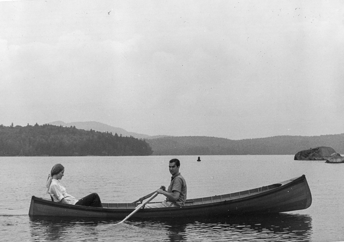 Fran and Jay Yardley in guidebook on Middle Saranac Lake, 1969