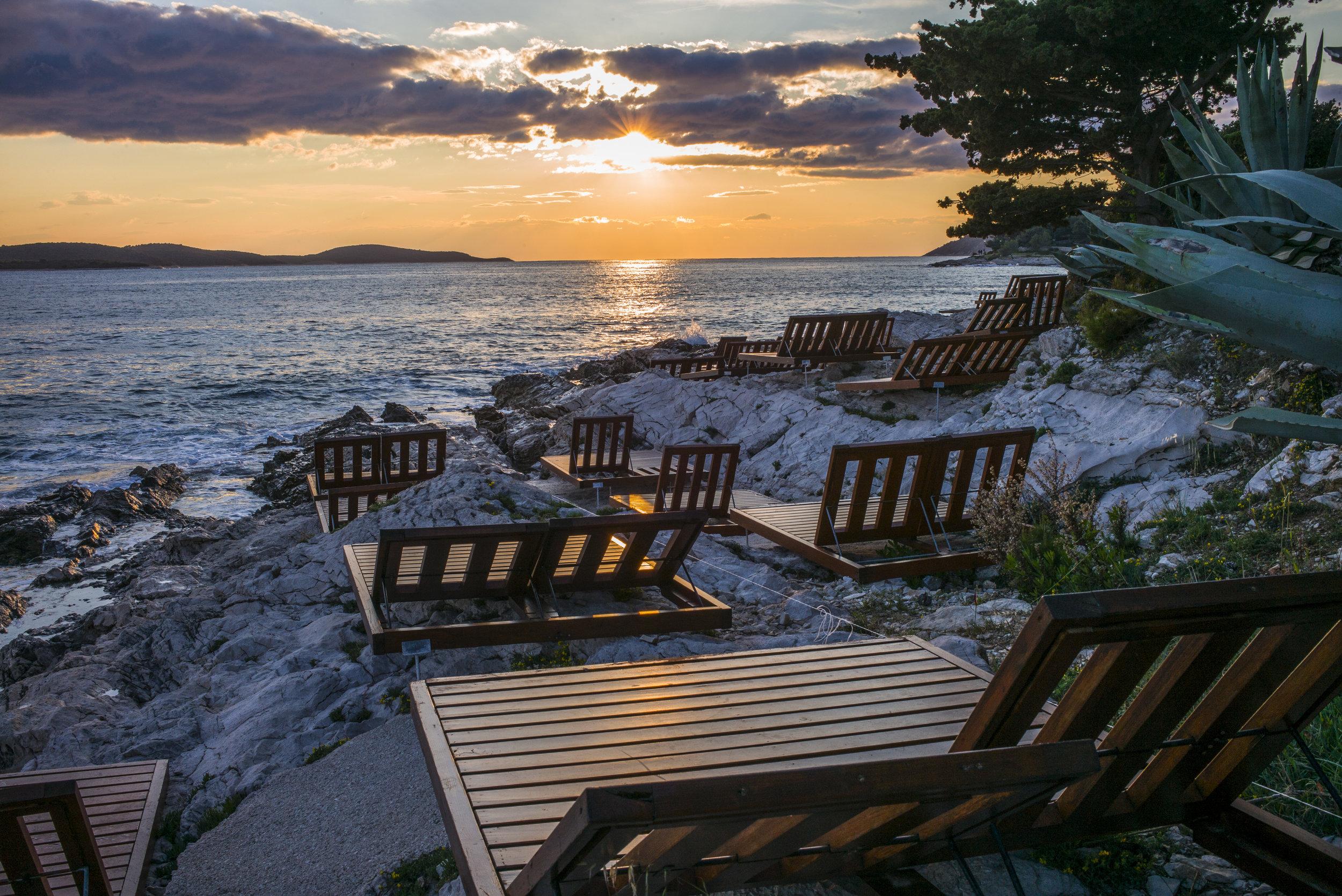 Sunset on the Adriatic shoreline of Hvar
