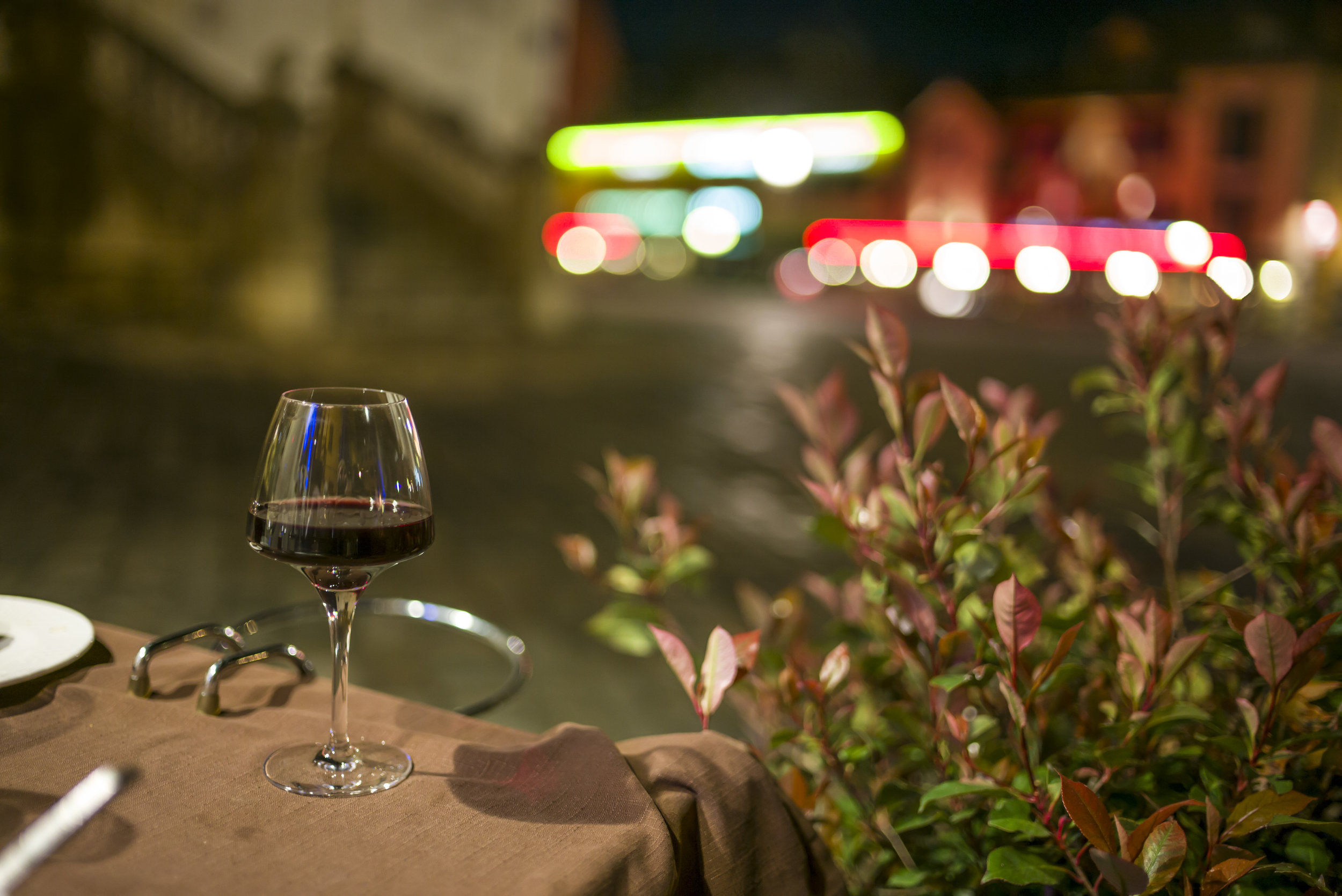 Sipping a nice red wine at Auberge de Savoie at night