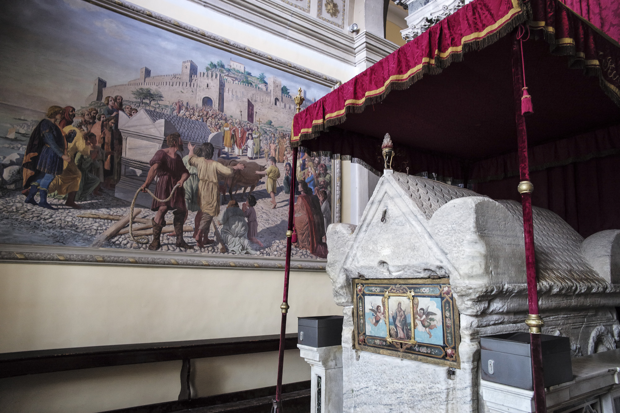 The Sarcophagus of St. Euphemia with a painting depicting her legend