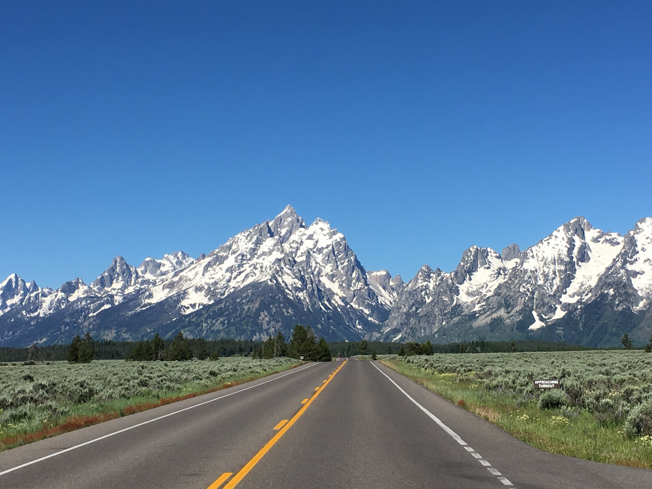 The road to the Grand Teton National Park