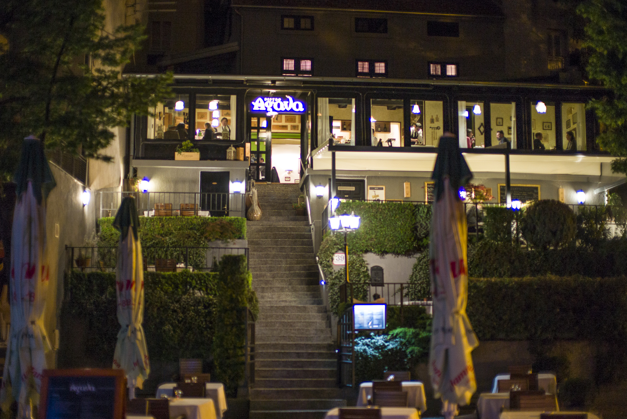 Bistro Agava offers outdoor seating on several terraces