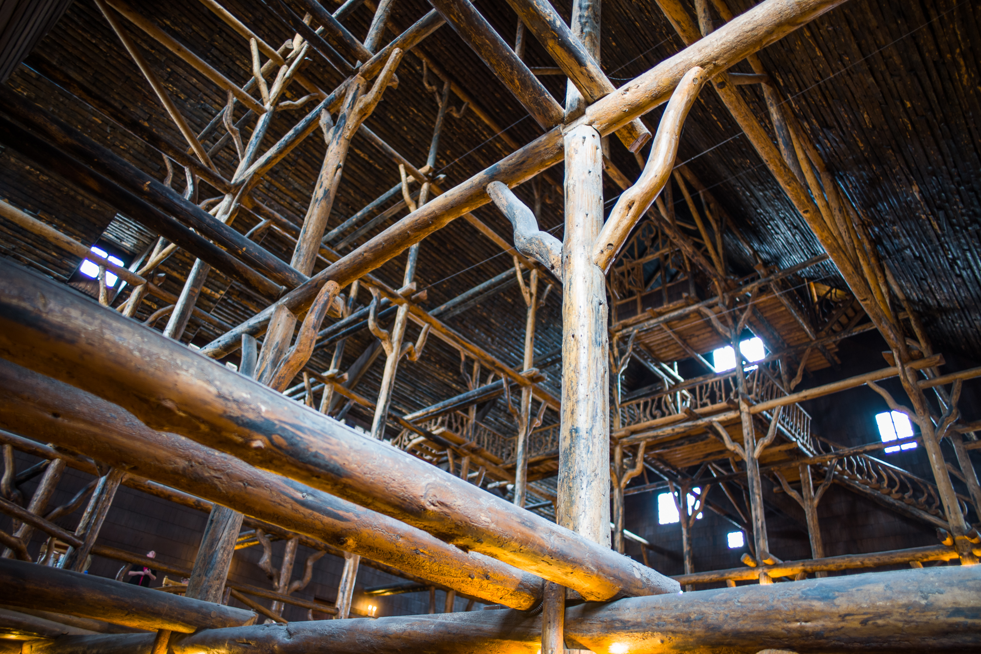 The lodgepole trestles built by the craftsmen