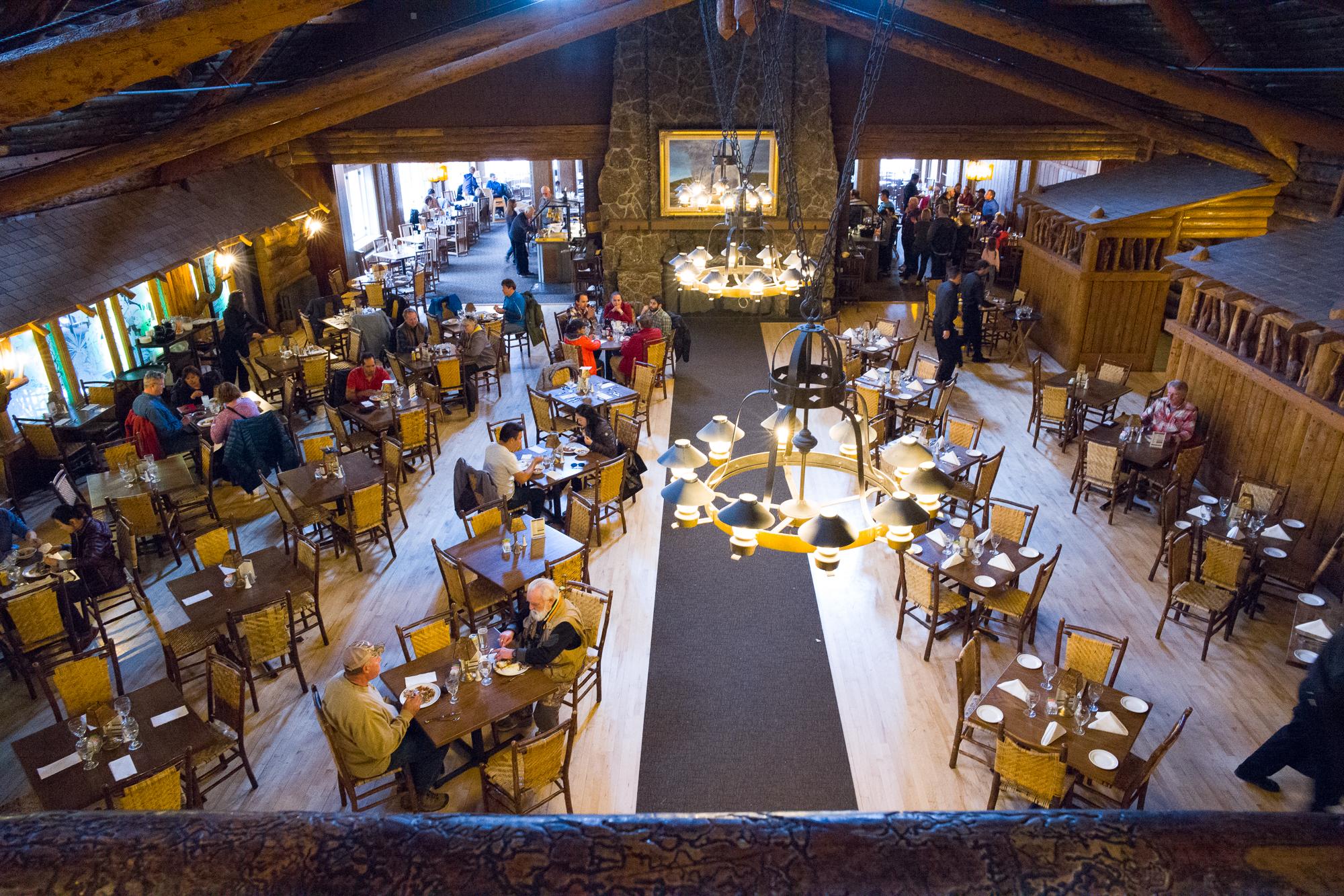 The grand dining room of Old Faithful Inn