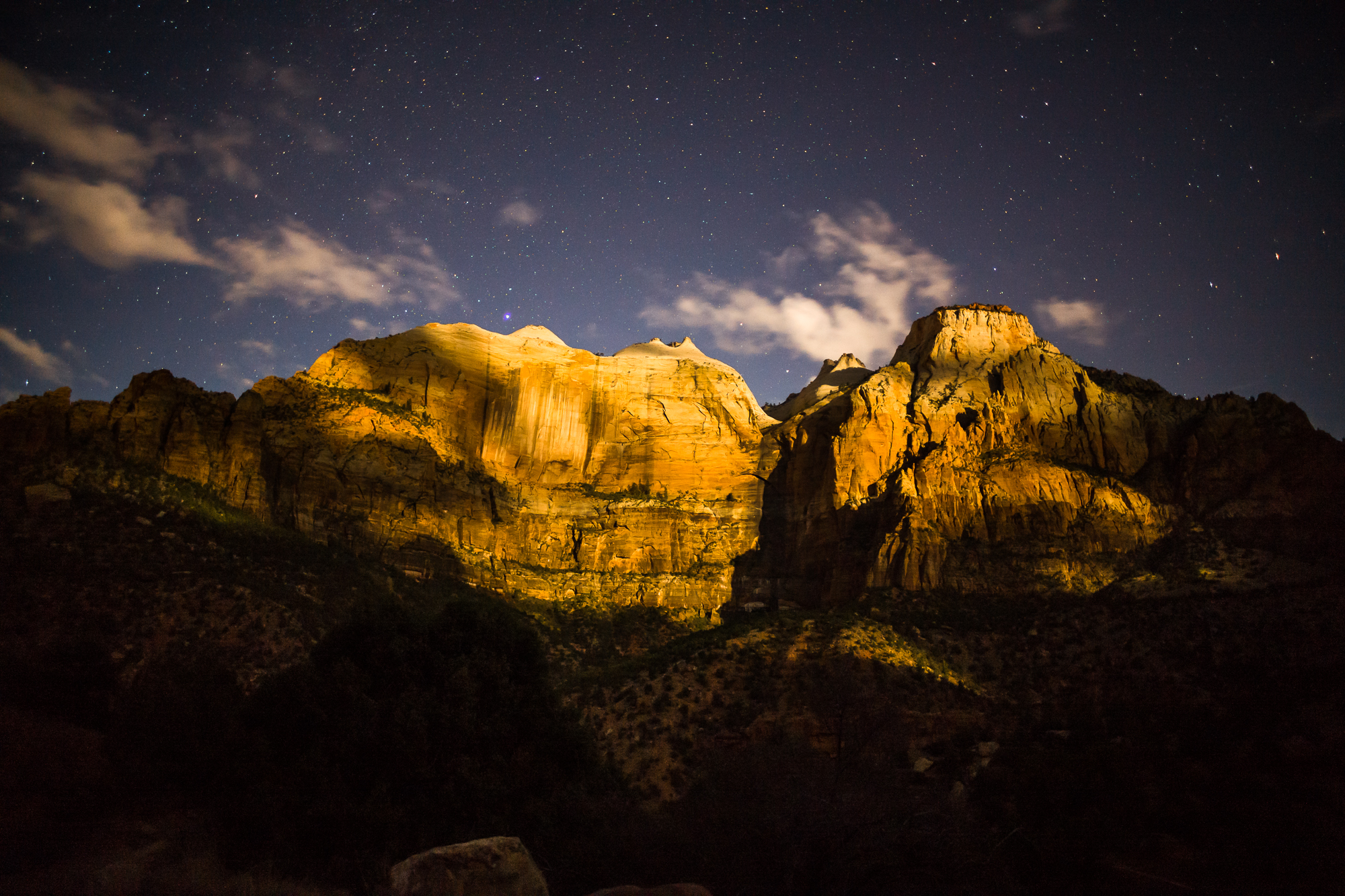 Zion cliffs lit by the moonlight and stars