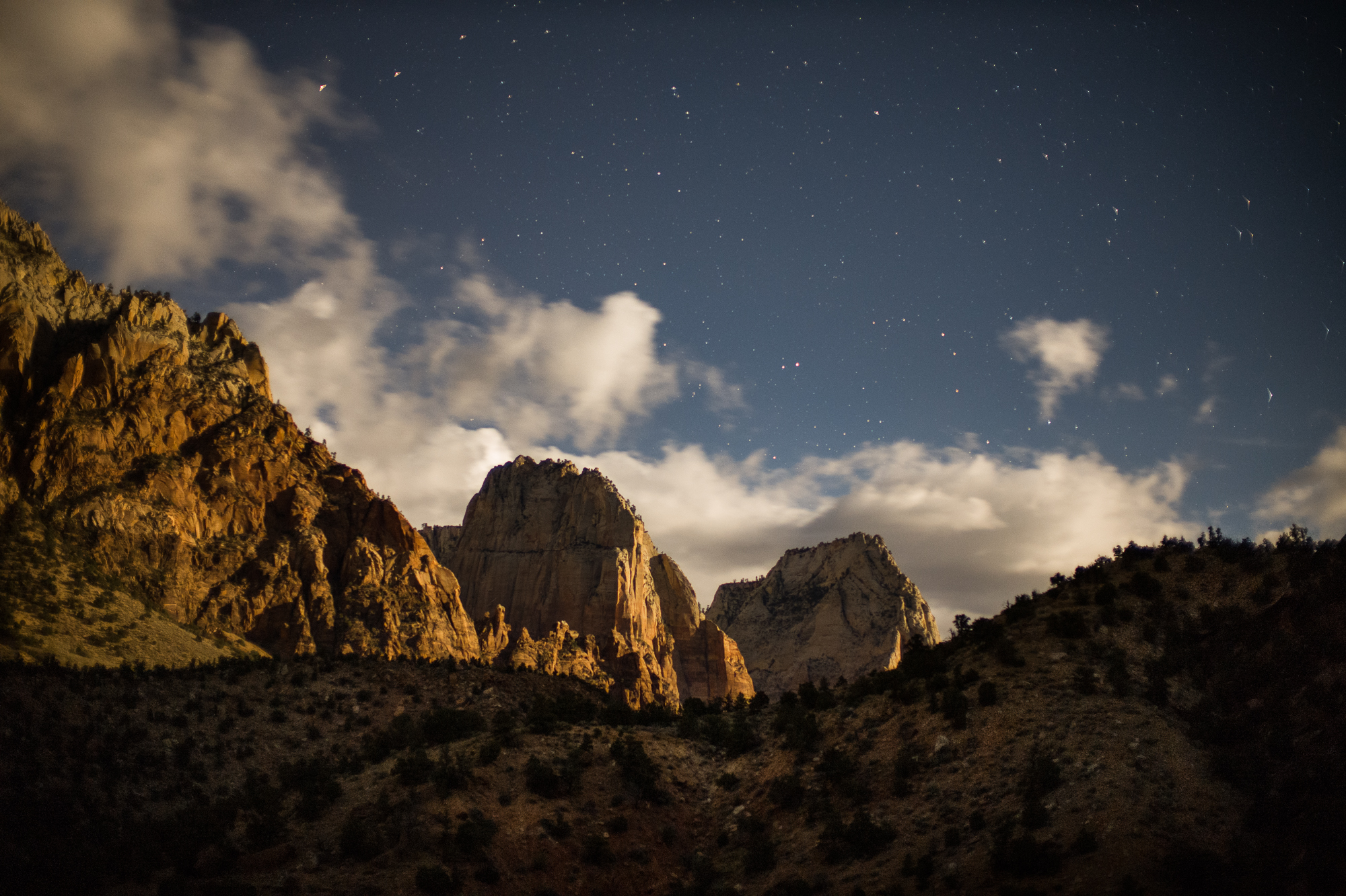Zion Canyon lit by moonlight and stars