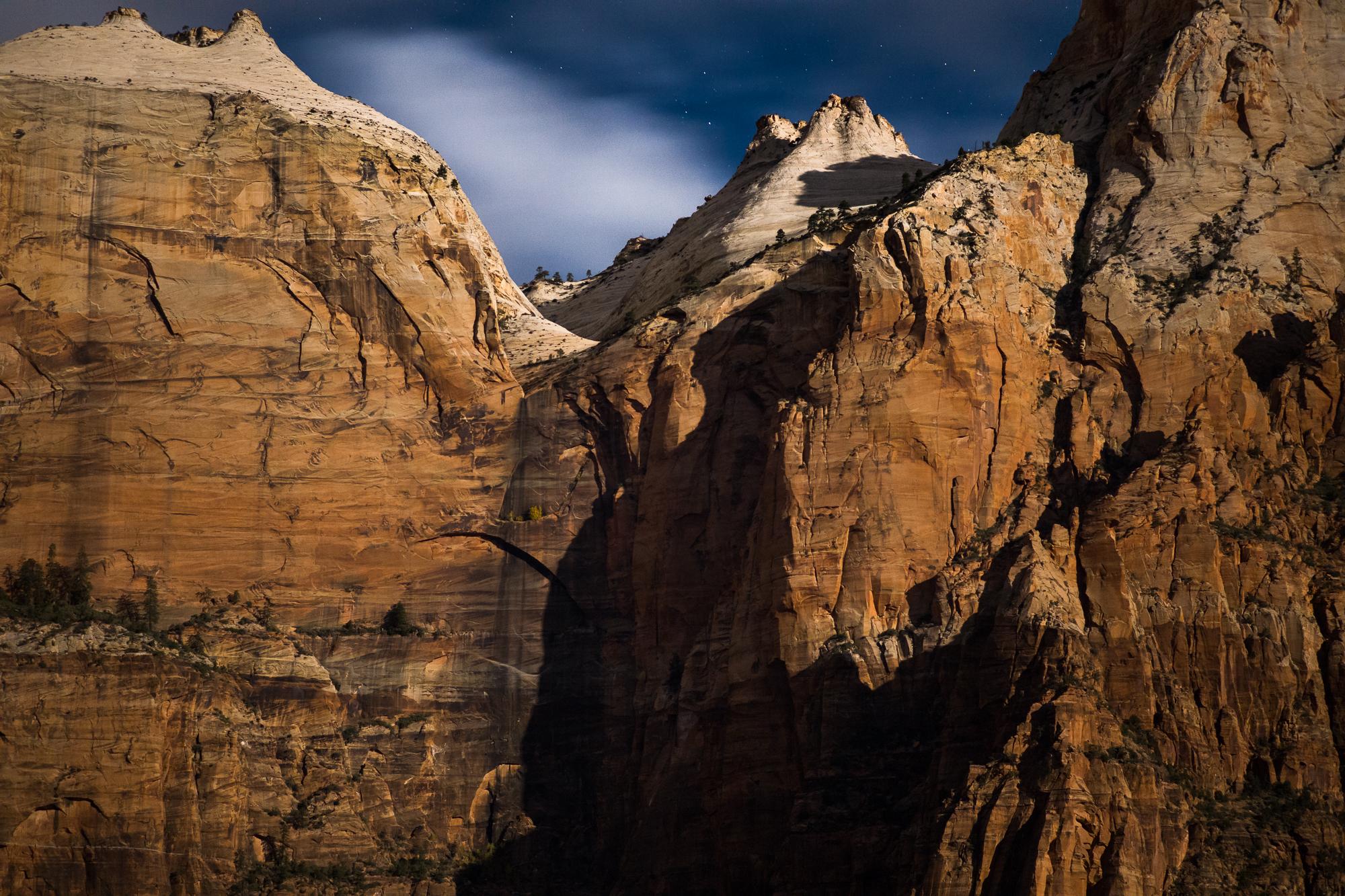 Zion Cliffs in Moonlight