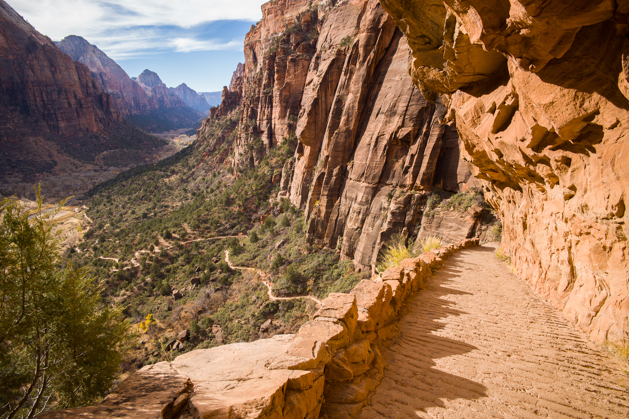 Section 1 of the Angels Landing hike gently ascends from the Virgin River valley.