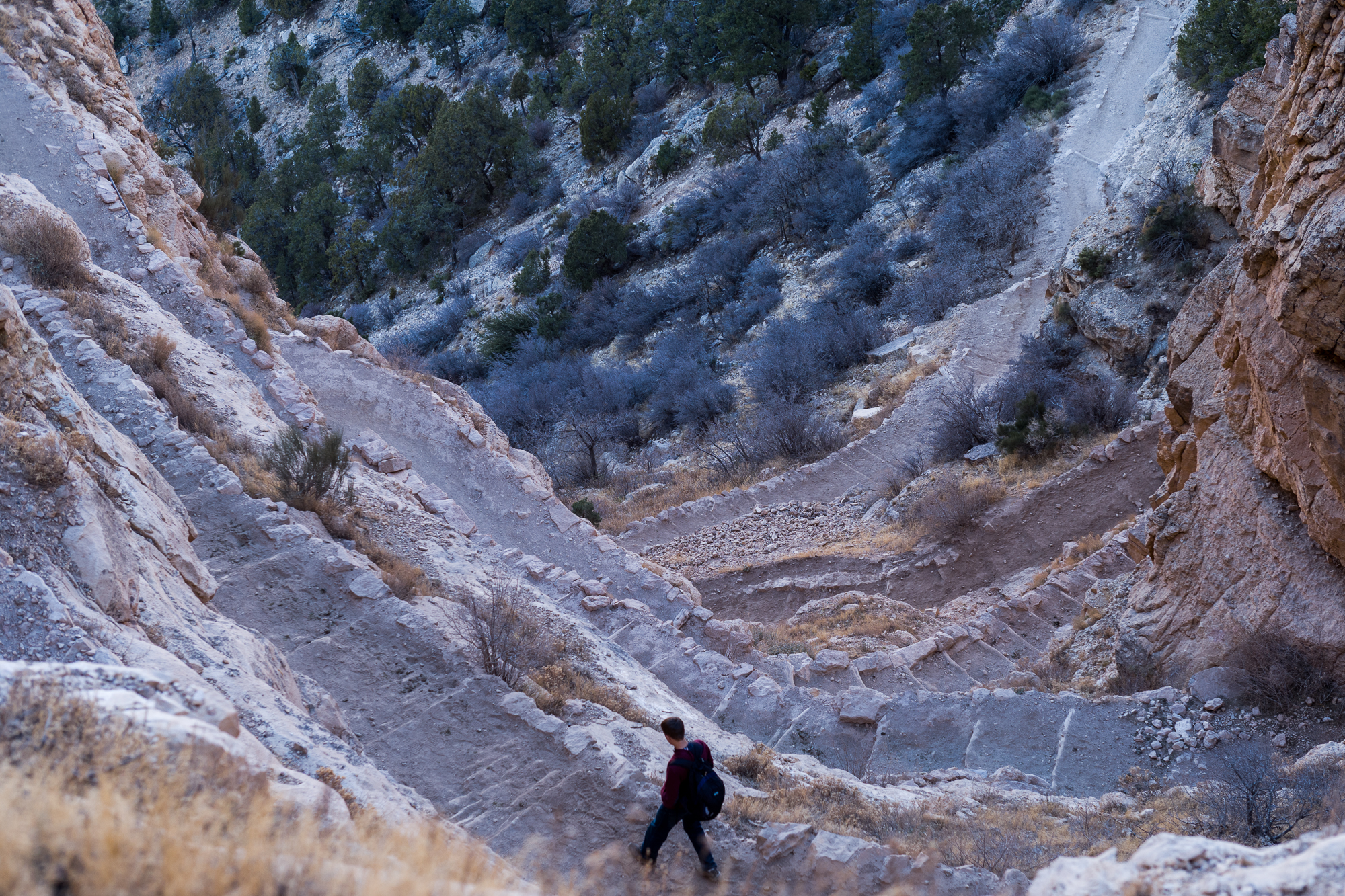 The steep switchbacks at the beginning of South Kaibab
