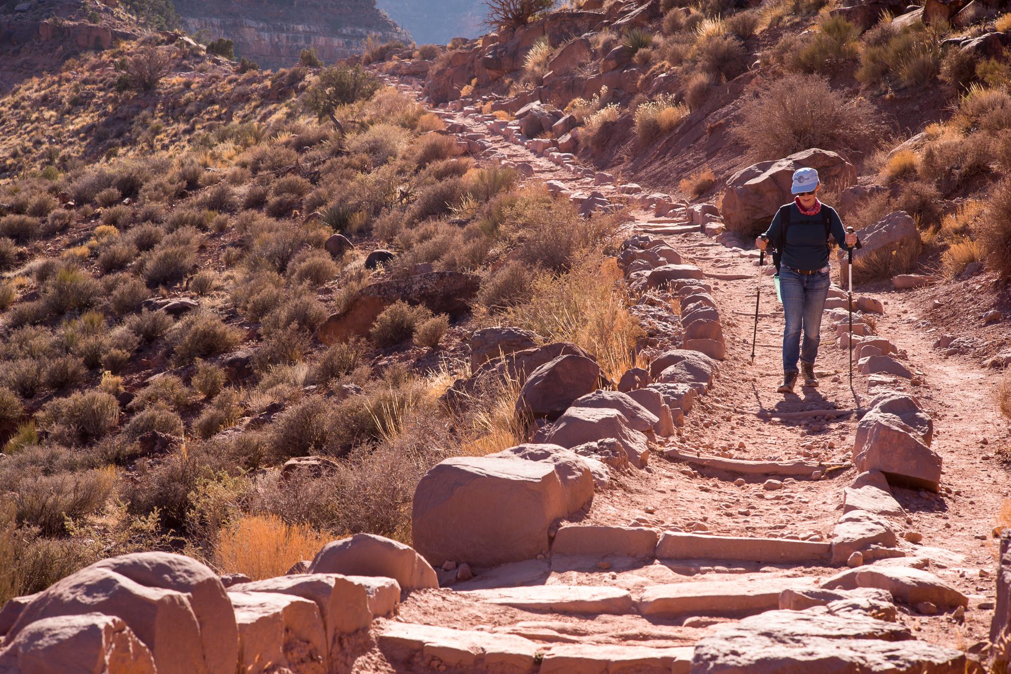 Cheryl descending into the Canyon