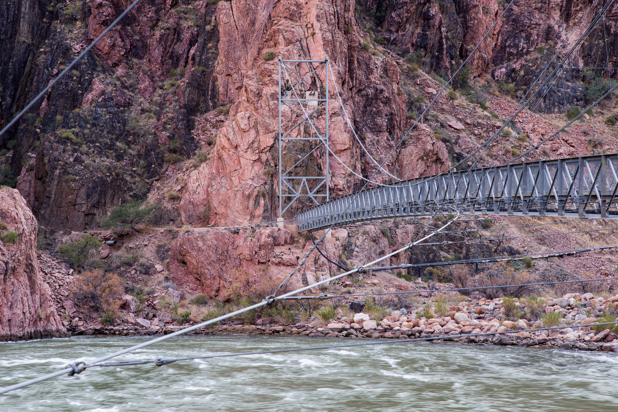 The Silver Bridge carries hikers and water to Indian Garden