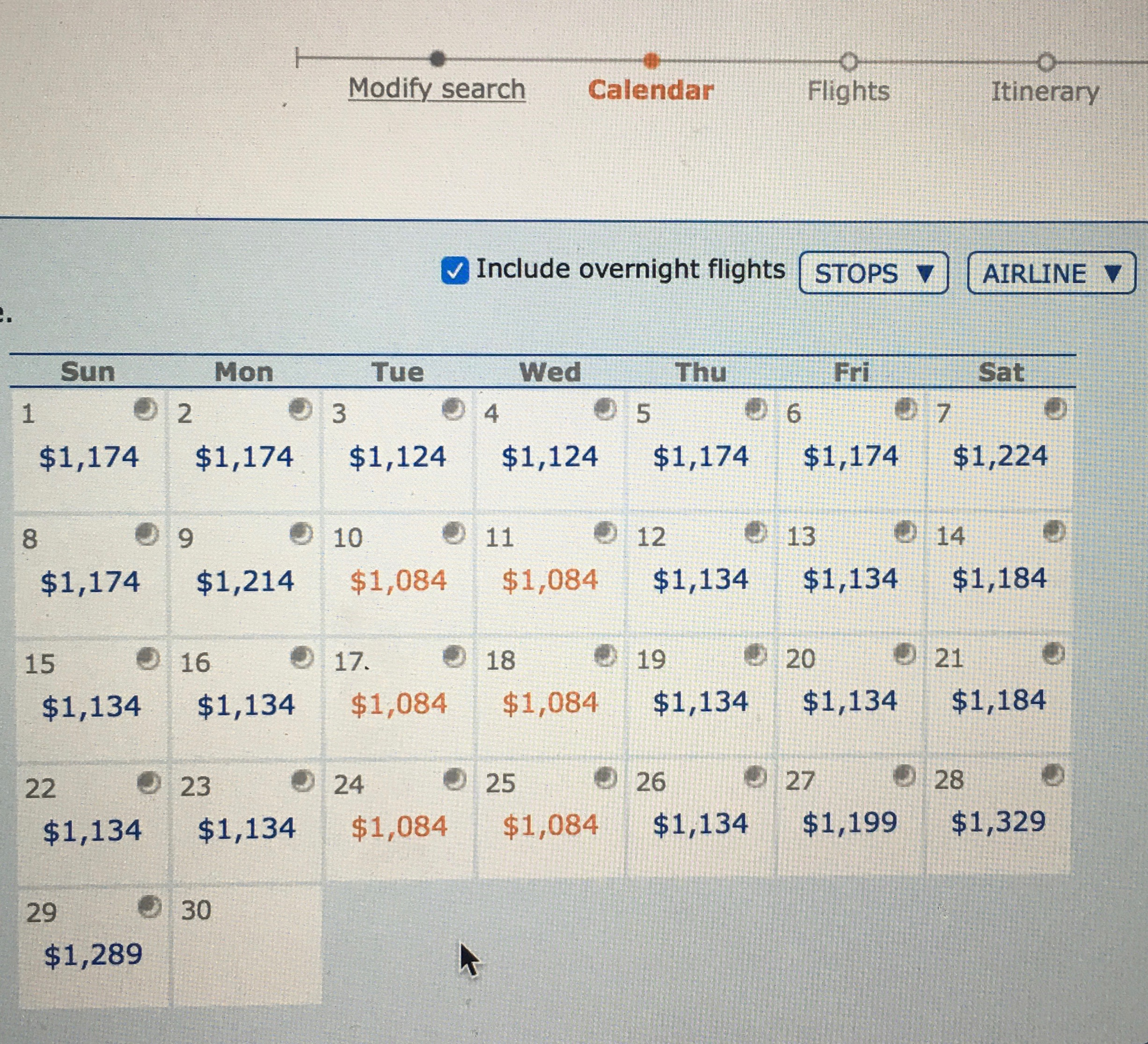 Step 2: Choose the date. The moon indicates an overnight flight.