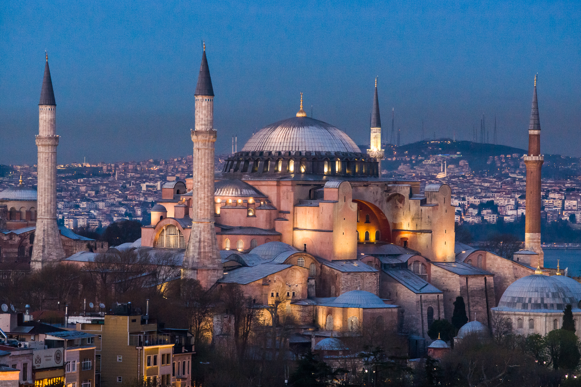 The Hagia Sophia, built by Emperor Justinian in 537 AD,was a church for 900 years as well as a mosque for 500 years. Since 1935 it is a national museum.