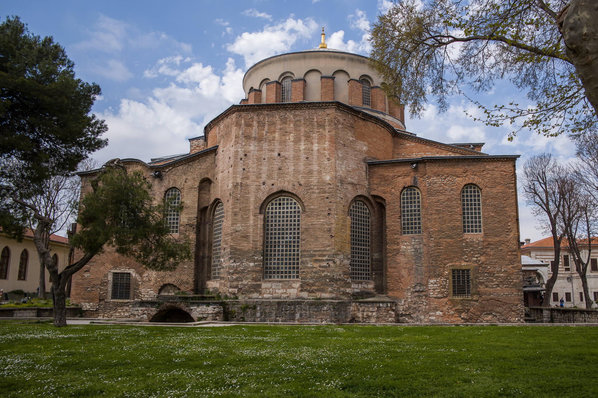The Hagia Irene in the courtyard of the Topkapi Palace is flanked by the Janissari Trees