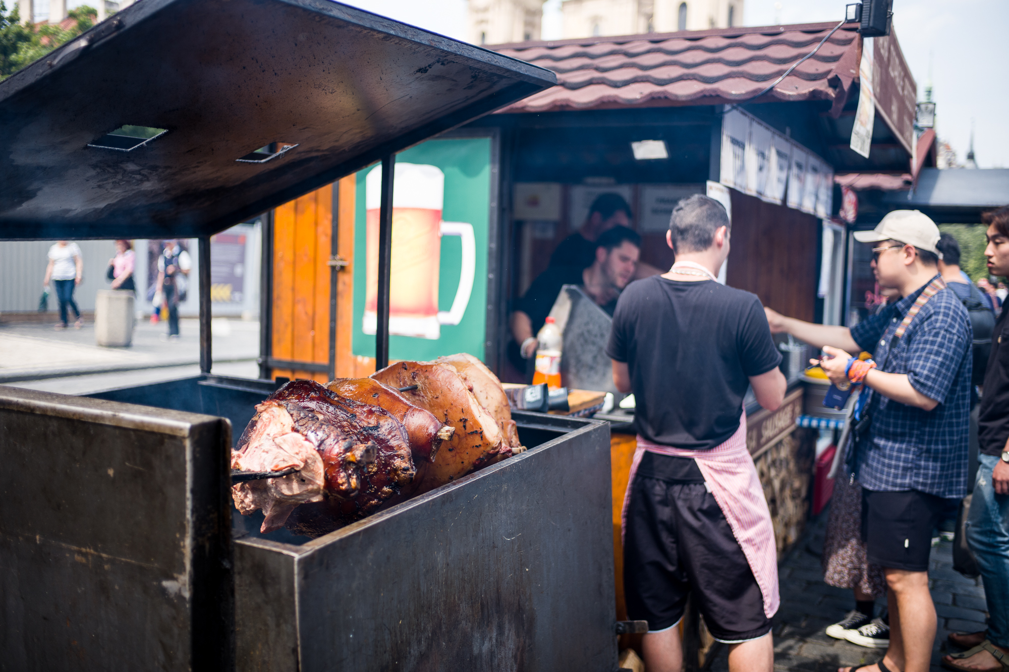 Fresh pork slow roasted and smoked in the old town square