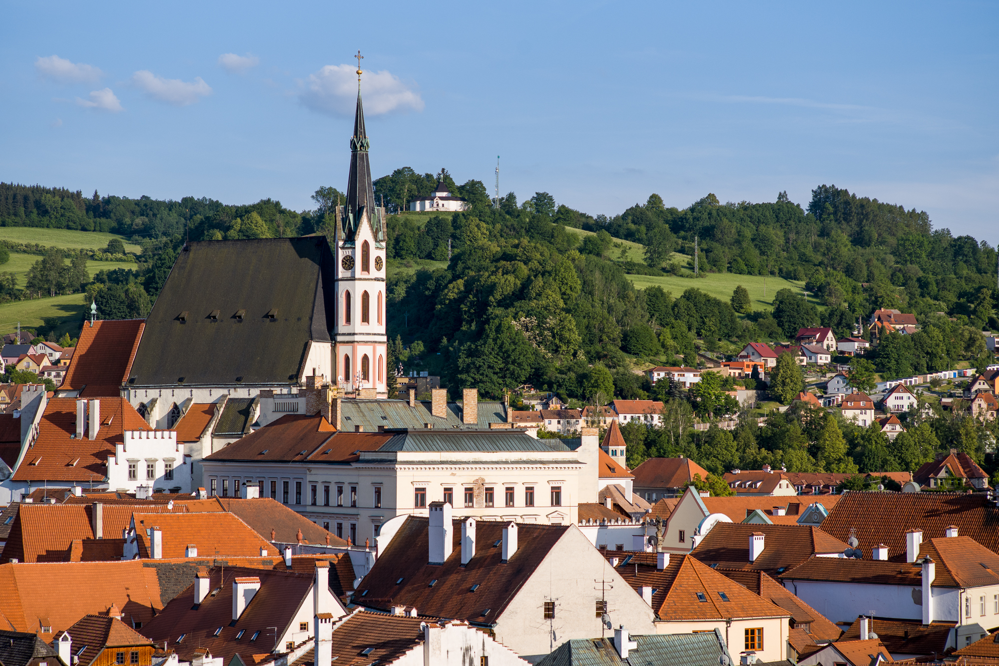 The village of Cesky Krumlov as seen from the castle walls