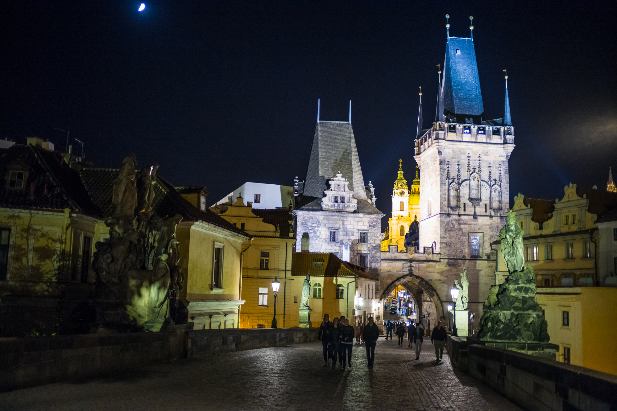 Walking the Charles Bridge at night