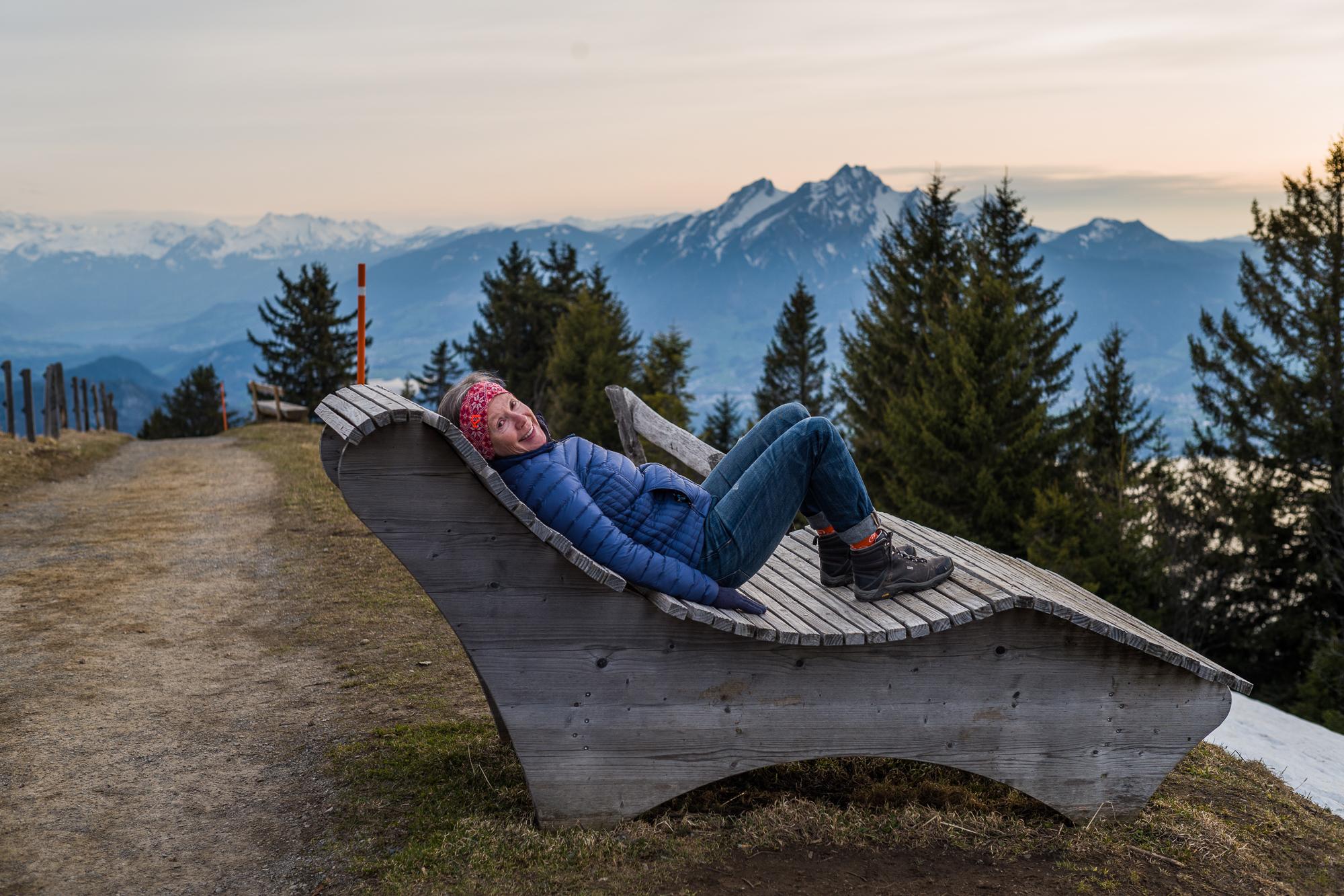 Enjoying the lounge chair on Rigi Kulm