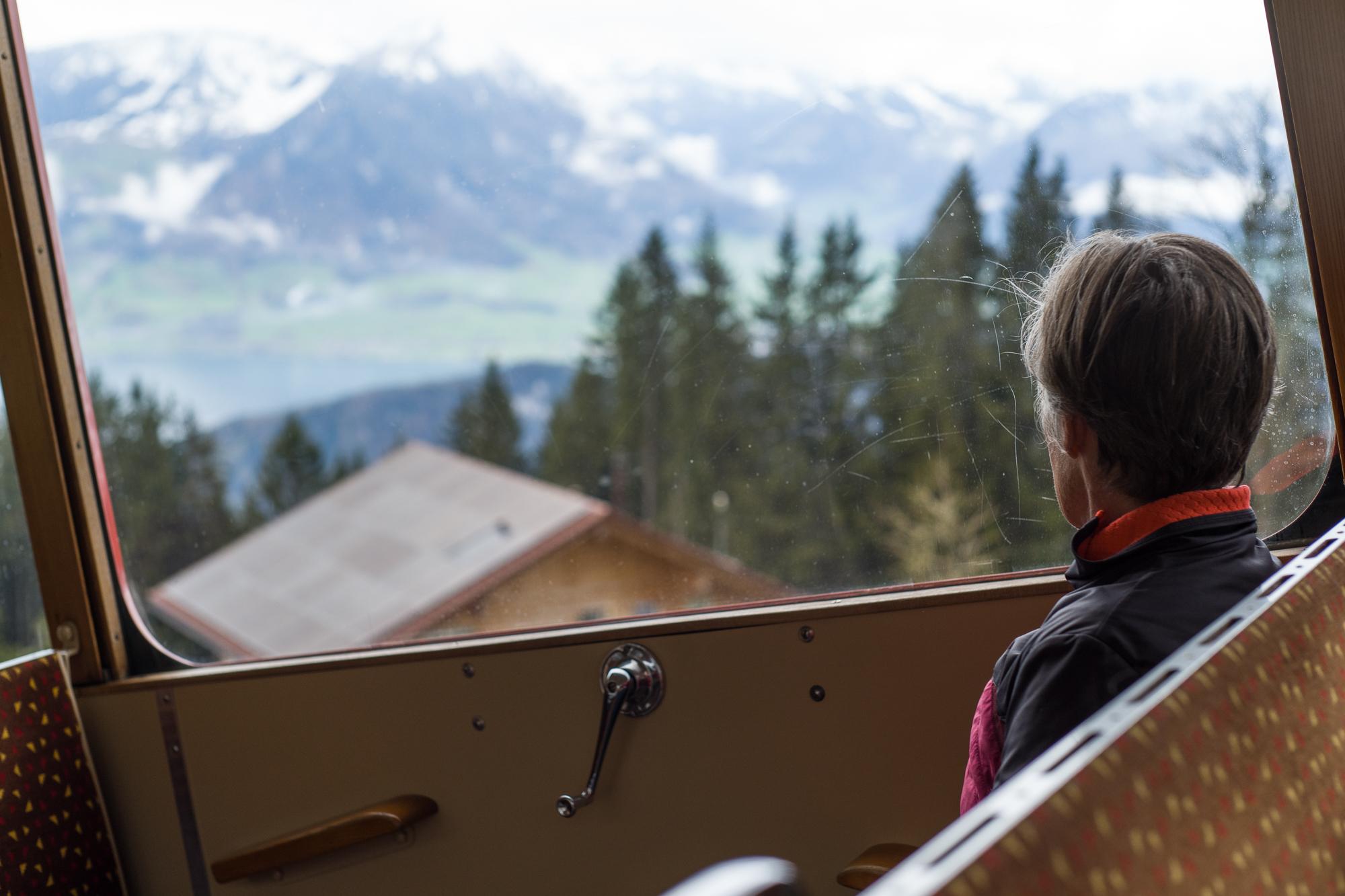 Riding up the Rigi cogged railway
