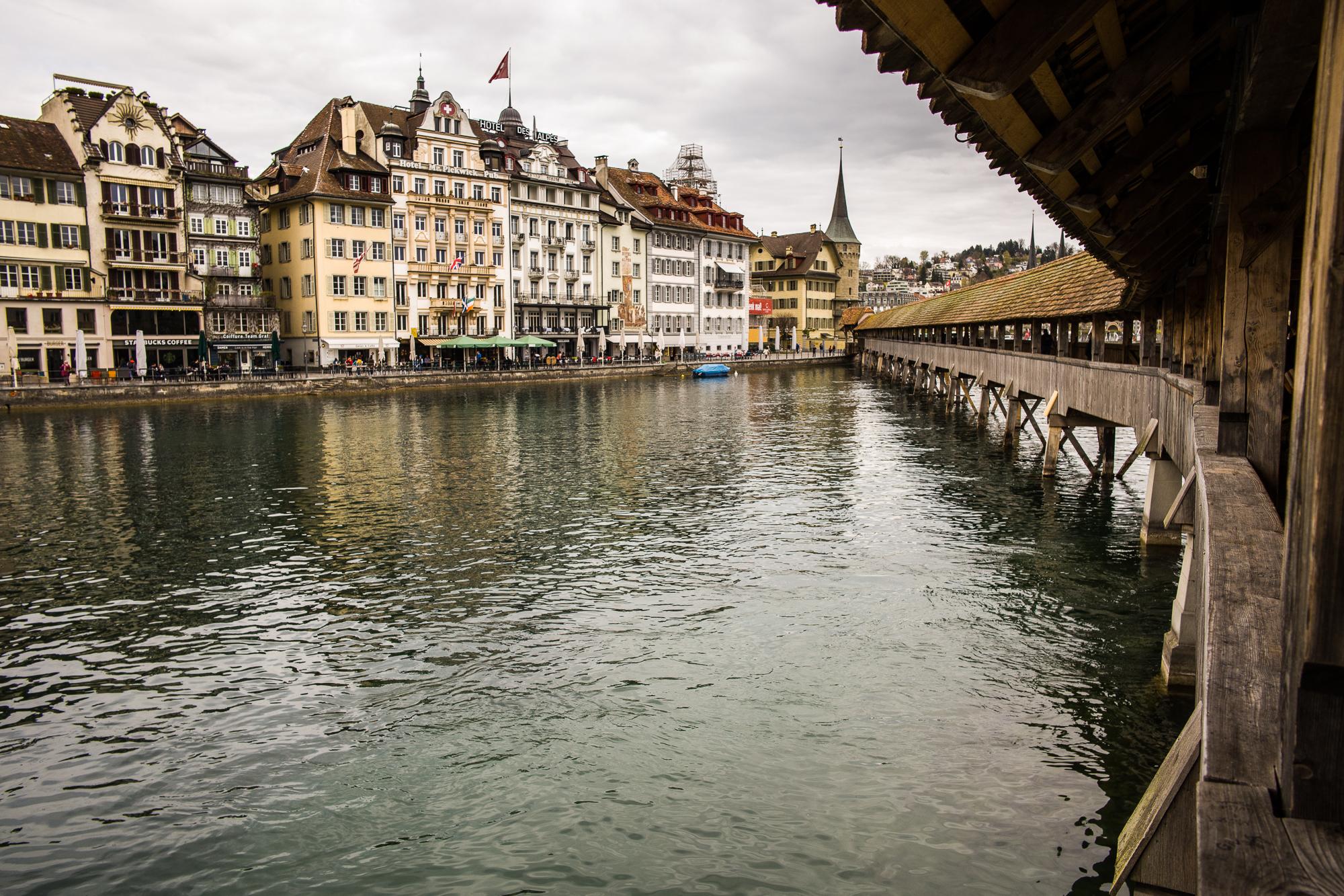 The Kapellbrücke Bridge over the Reuss River in Lucerne