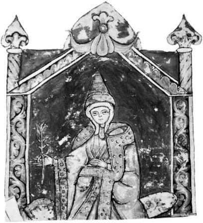 Matilda, detail of a miniature from  Vita Mathildis  by Donizo of Canossa, 12th century; in the Vatican Library (Vat. Lat. 4922).Courtesy of the Bibliotech Apostolica Vaticana.