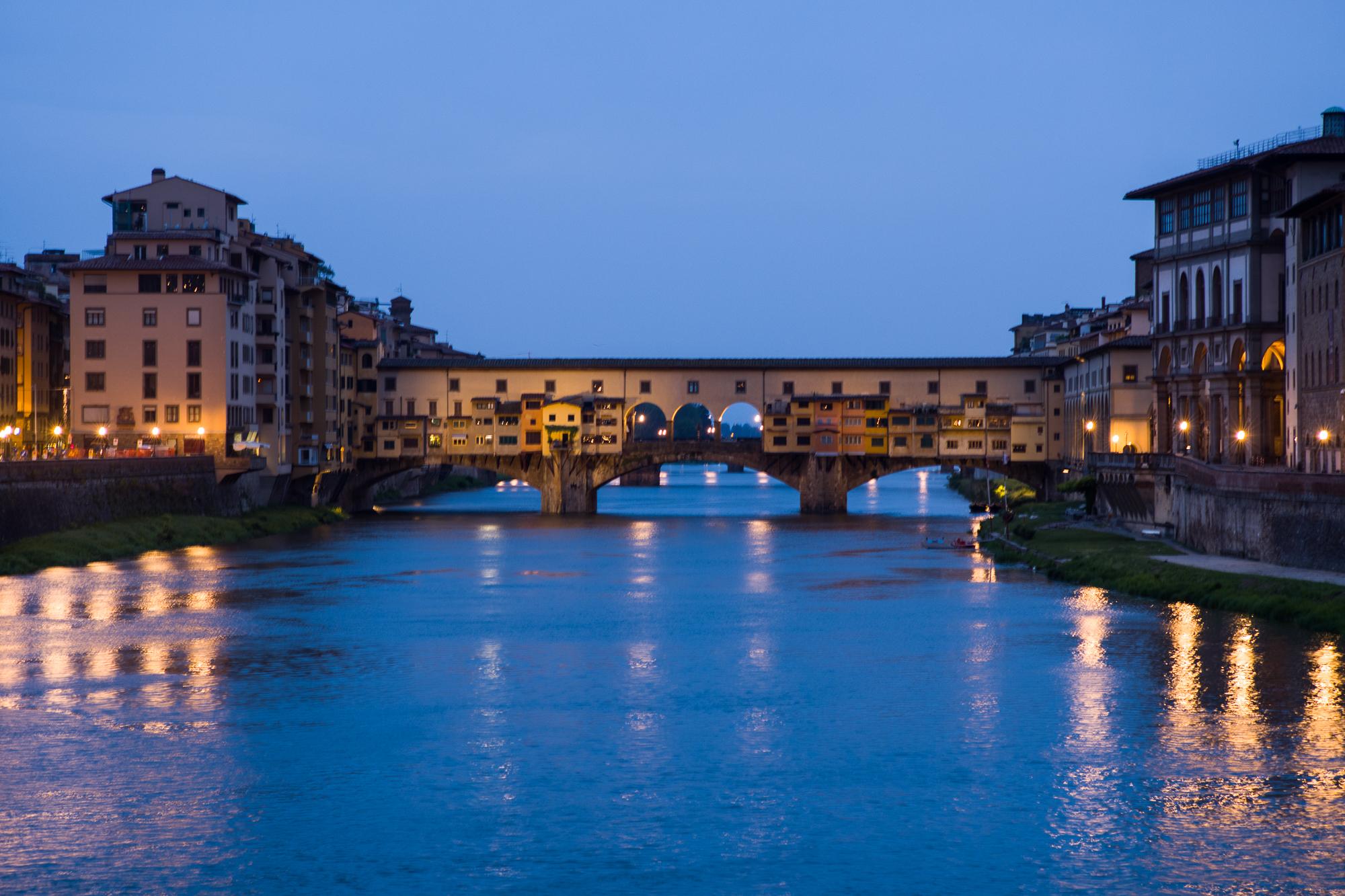 The Ponte Vecchio bridge in the early morning