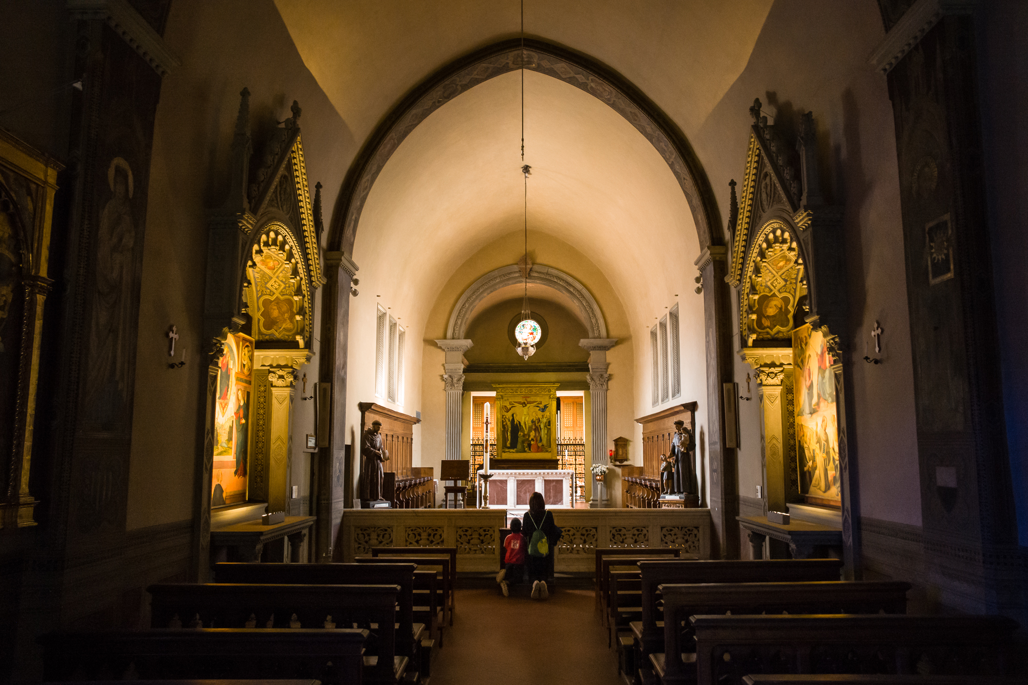 Praying in the chapel
