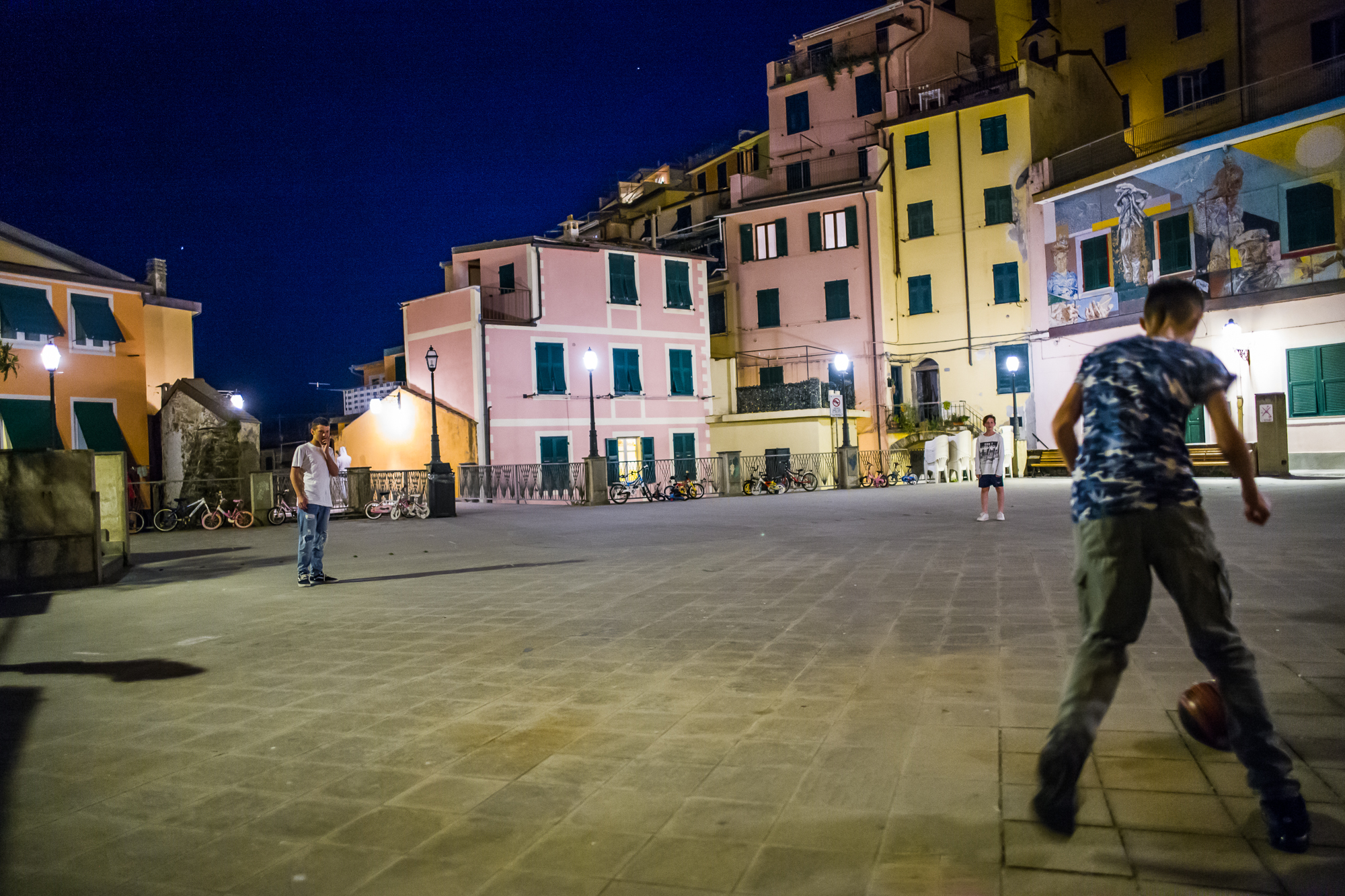 Playing Soccer under the stars in Manarola