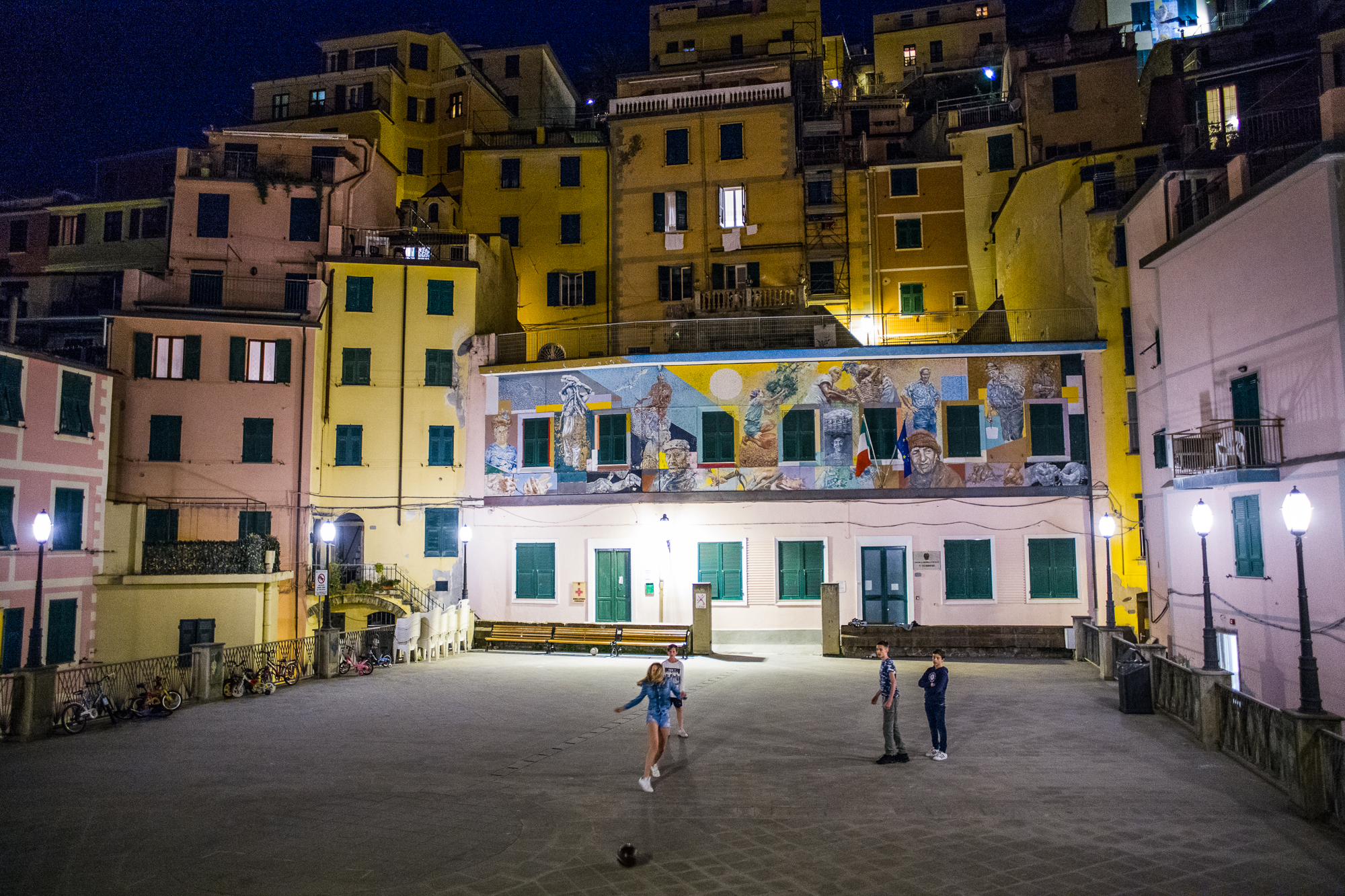 Soccer at night in Riomaggiore