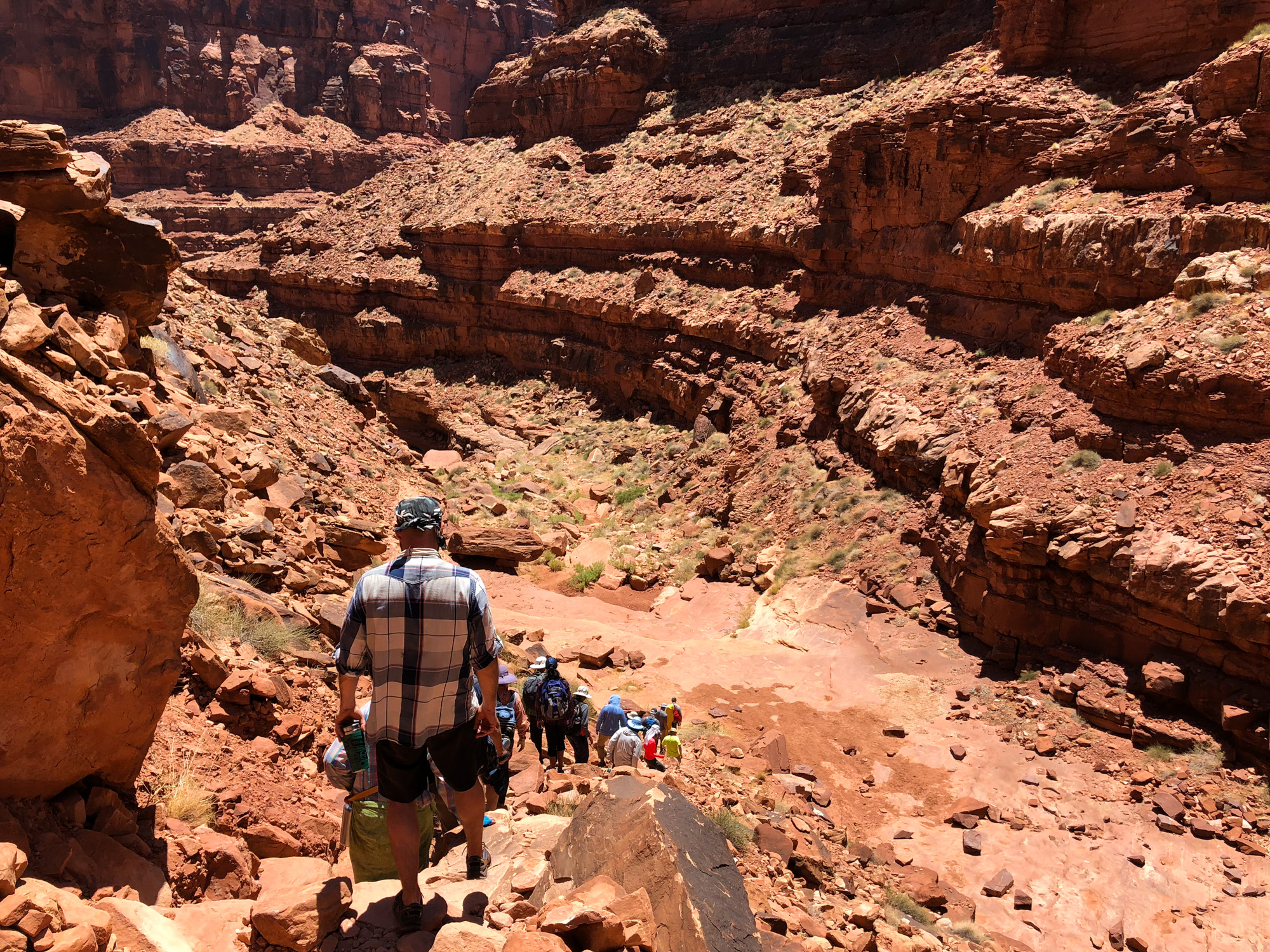 Hiking out of the slot canyon