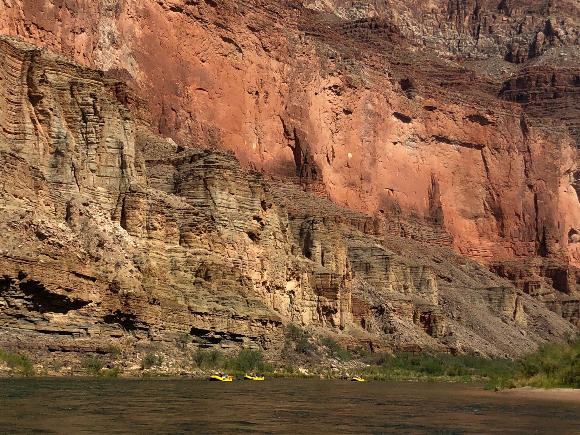 Small rafts inside a Grand Canyon