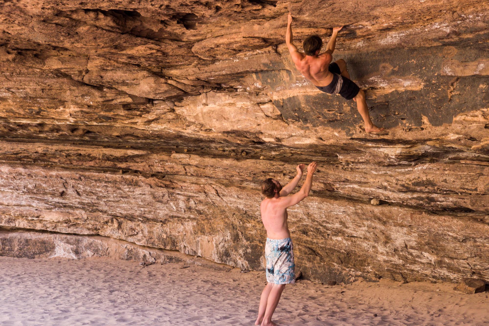 Rock climbing inside the Grand Canyon