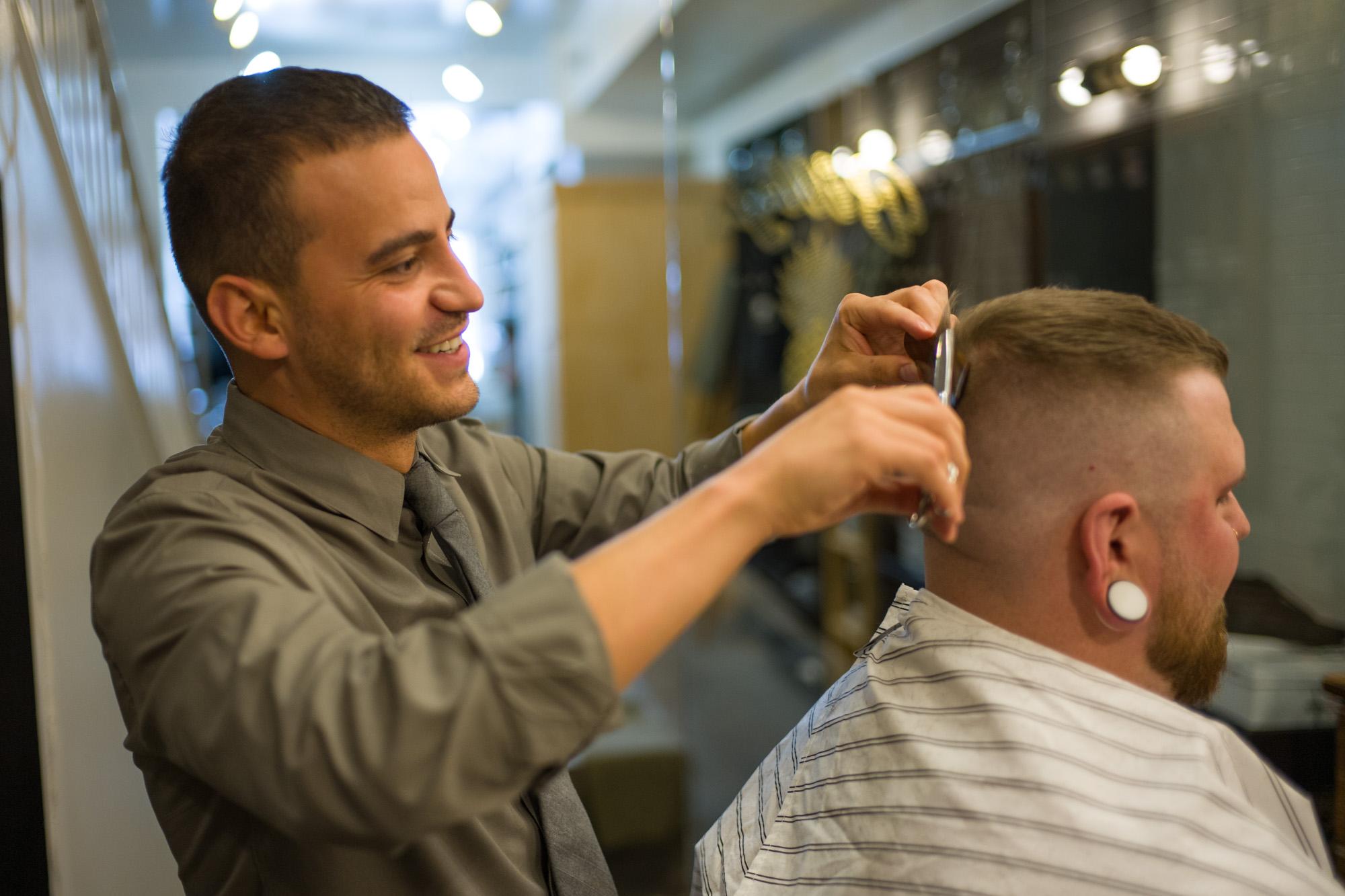 Jorge at work in Billy's Barber Shop