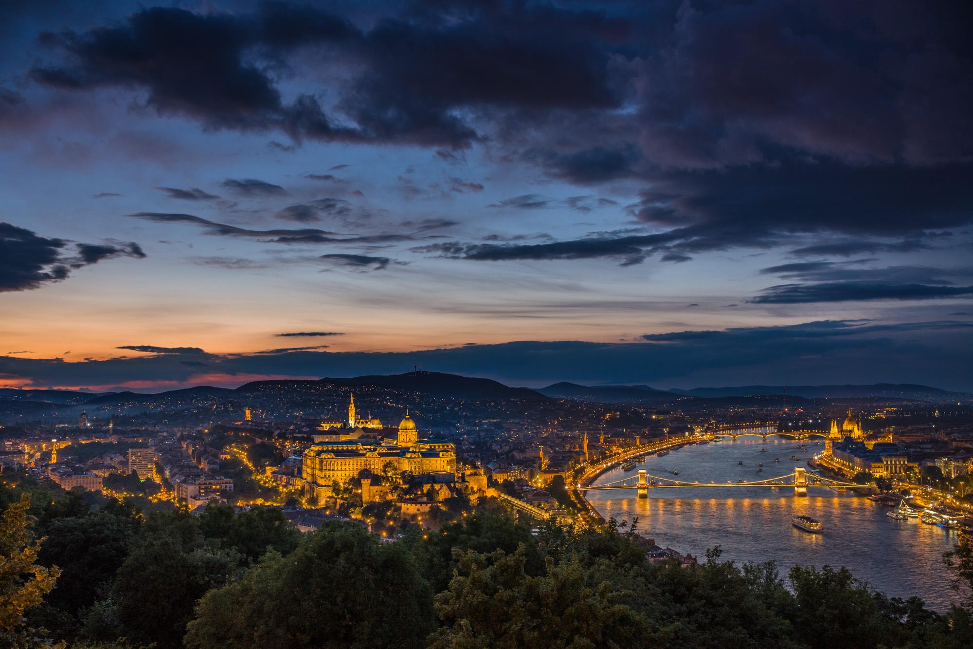 The Danube runs through Budapest as seen from Gellért Hill
